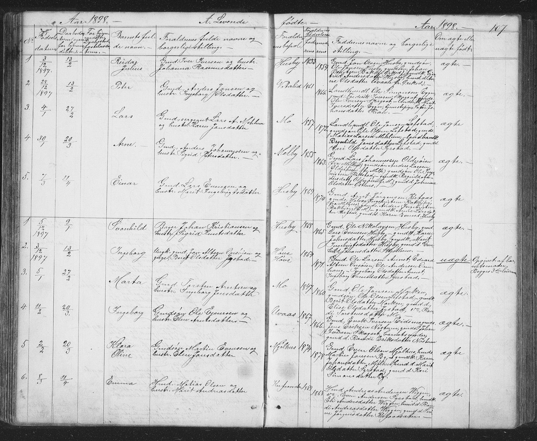 SAT, Ministerialprotokoller, klokkerbøker og fødselsregistre - Sør-Trøndelag, 667/L0798: Klokkerbok nr. 667C03, 1867-1929, s. 107