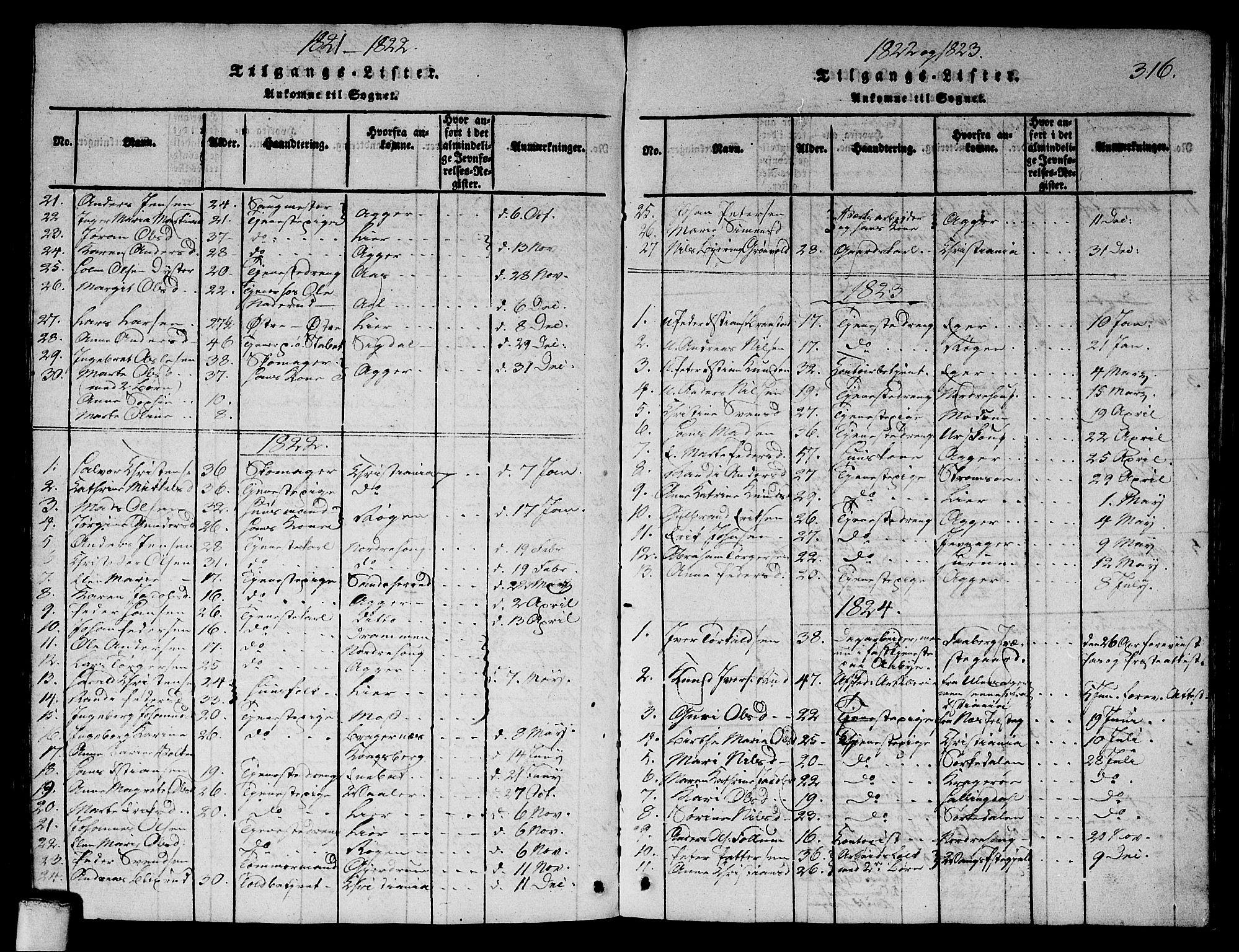 SAO, Asker prestekontor Kirkebøker, G/Ga/L0001: Klokkerbok nr. I 1, 1814-1830, s. 316