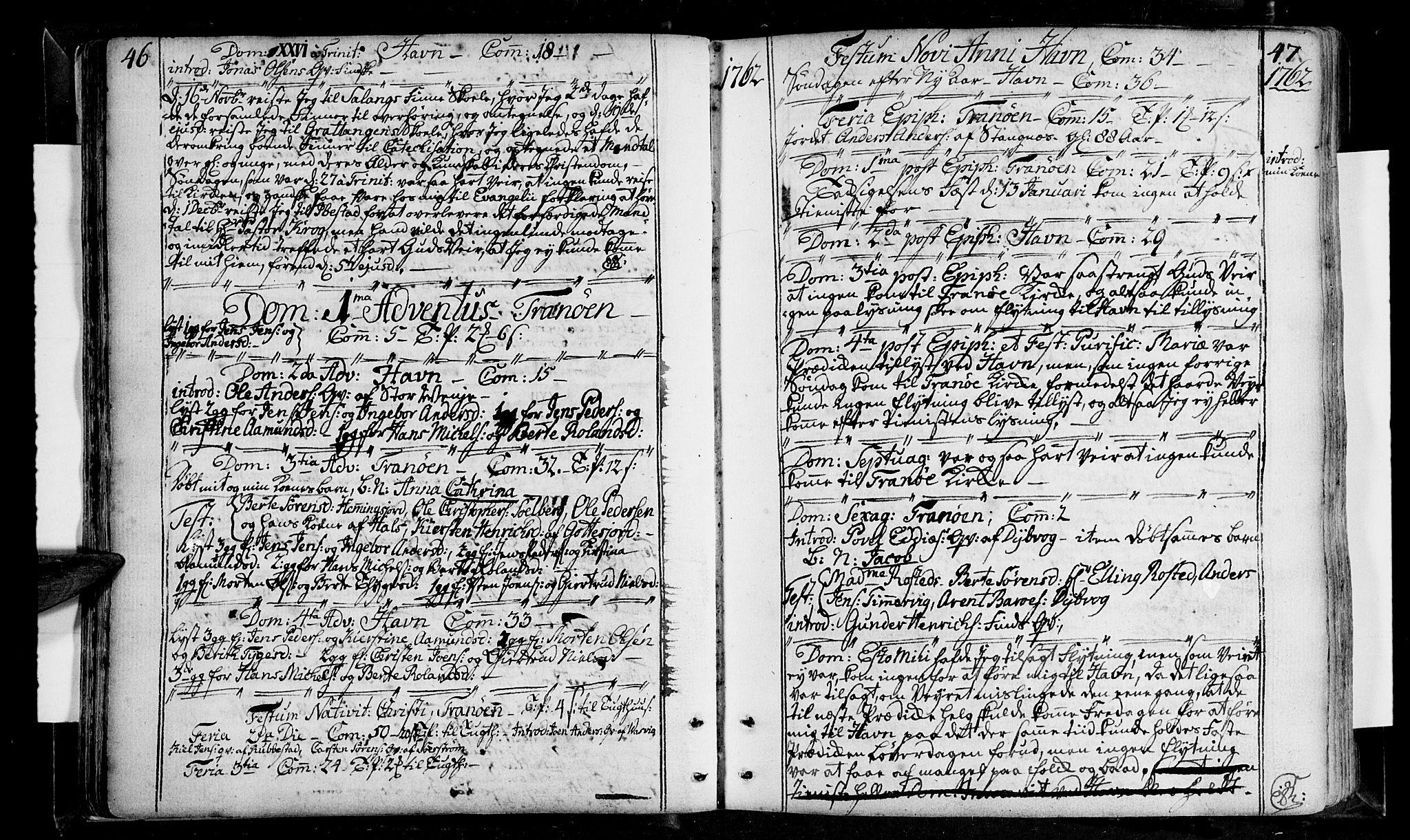 SATØ, Tranøy sokneprestkontor, I/Ia/Iaa/L0001kirke: Ministerialbok nr. 1, 1757-1773, s. 46-47