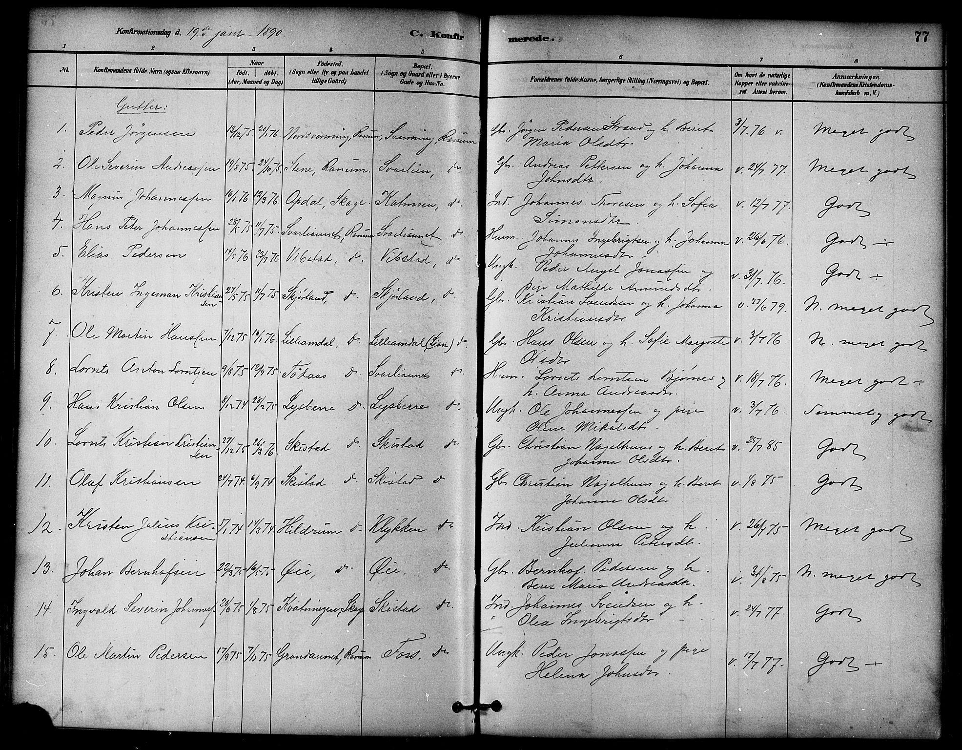 SAT, Ministerialprotokoller, klokkerbøker og fødselsregistre - Nord-Trøndelag, 764/L0555: Ministerialbok nr. 764A10, 1881-1896, s. 77