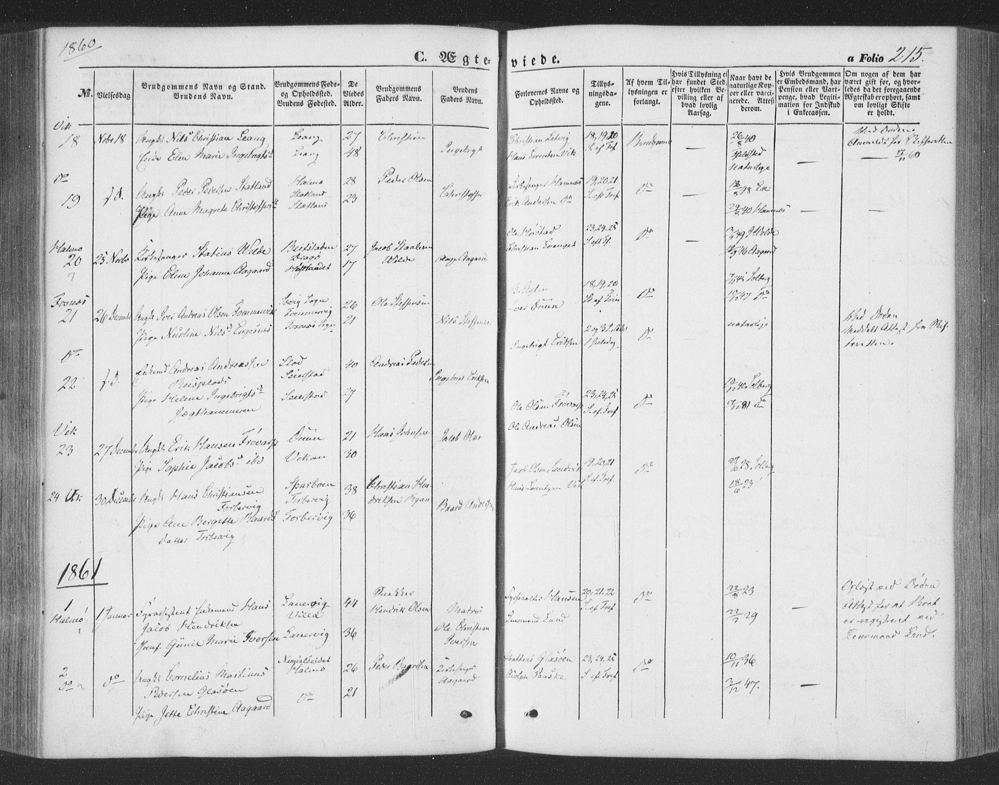 SAT, Ministerialprotokoller, klokkerbøker og fødselsregistre - Nord-Trøndelag, 773/L0615: Ministerialbok nr. 773A06, 1857-1870, s. 215