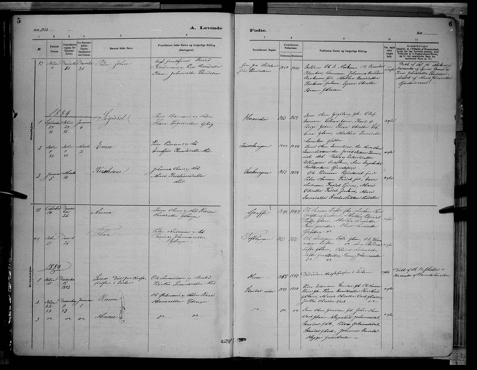 SAH, Sør-Fron prestekontor, H/Ha/Hab/L0003: Klokkerbok nr. 3, 1884-1896, s. 5-6