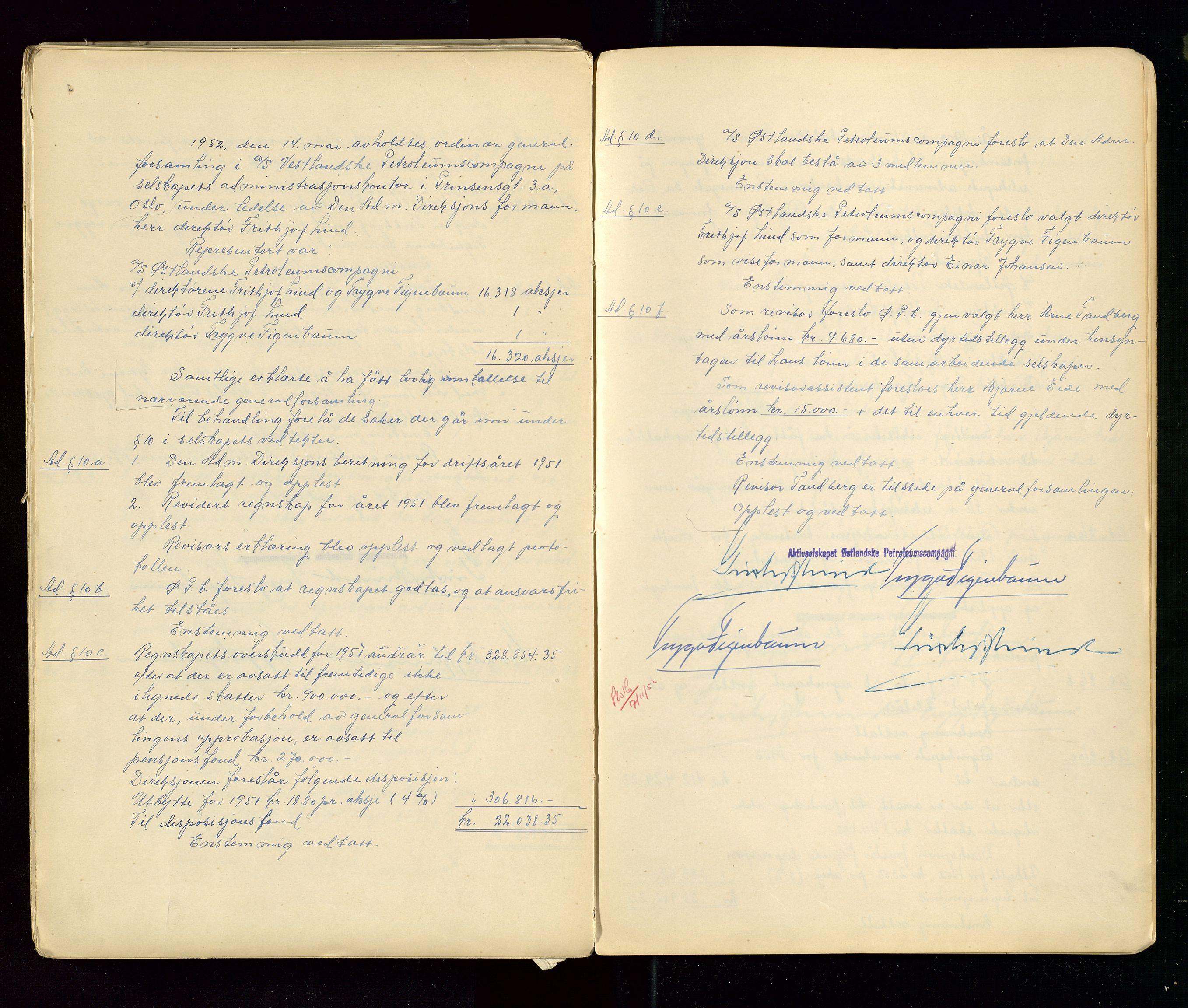 SAST, PA 1533 - A/S Vestlandske Petroleumscompani, A/Aa/L0001: Generalforsamlinger og styreprotokoller, 1890-1953, s. 144