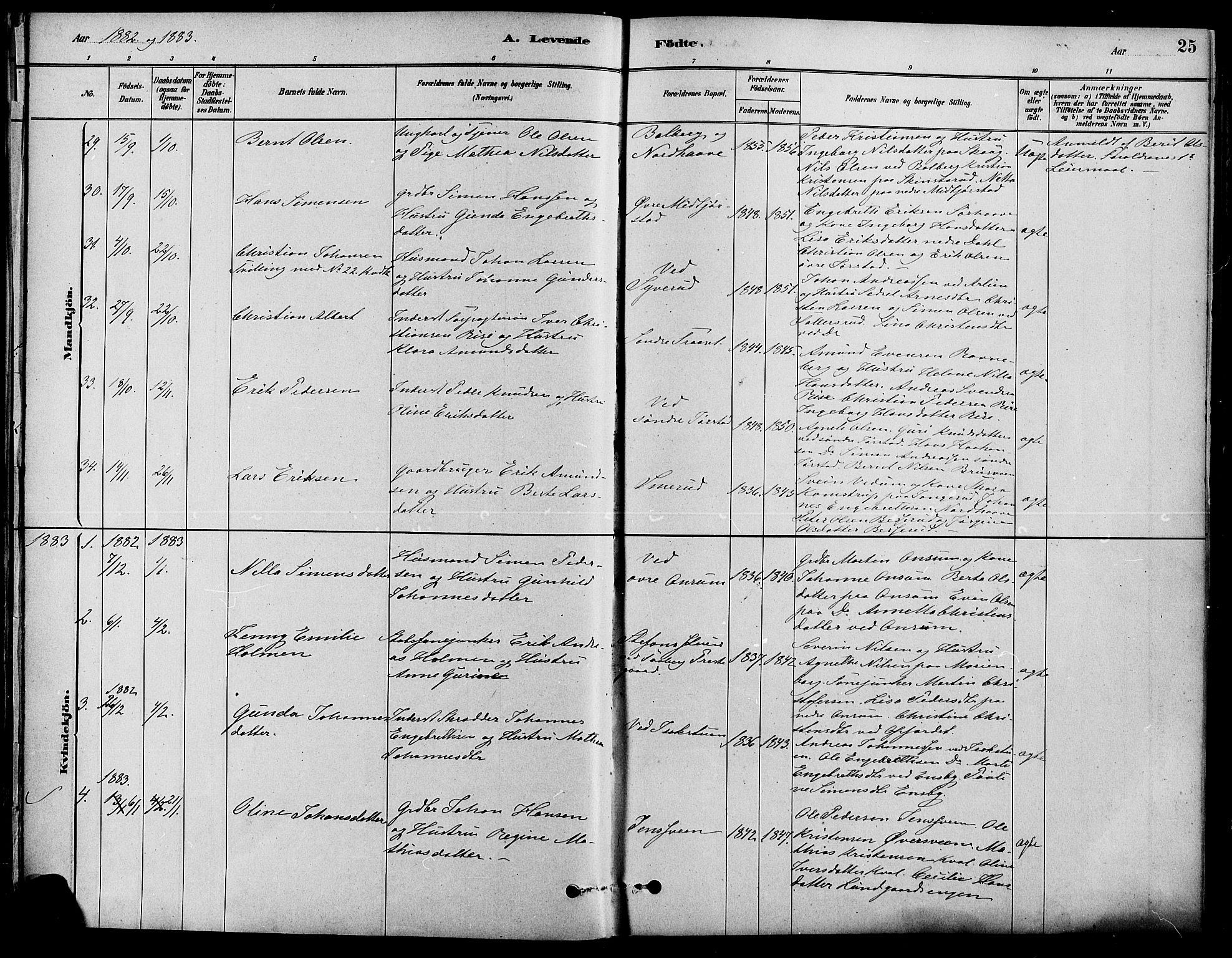 SAH, Fåberg prestekontor, Ministerialbok nr. 8, 1879-1898, s. 25