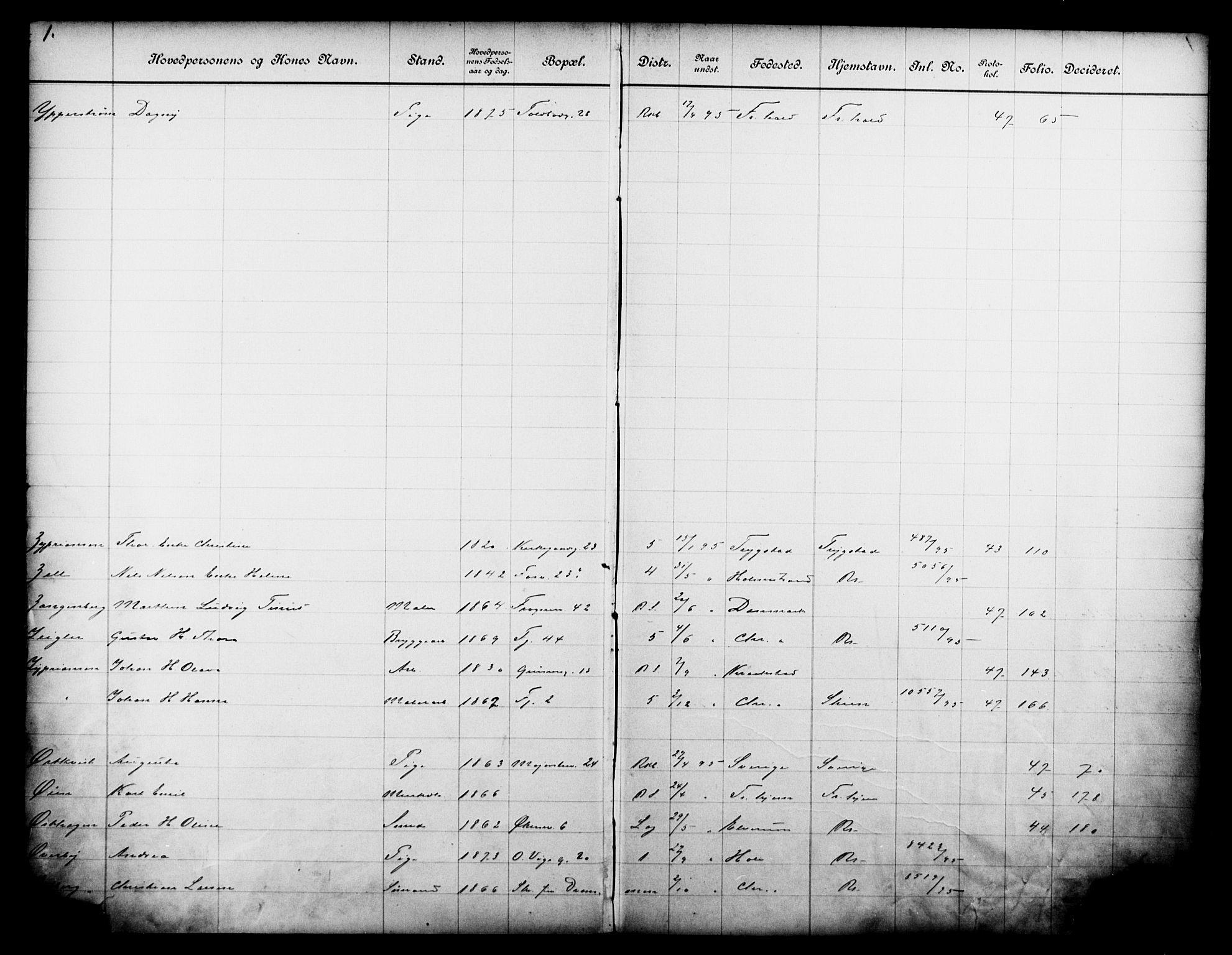OBA, Fattigvesenet, Fb/L0015: Hjemstavnsregister, 1895, s. 173