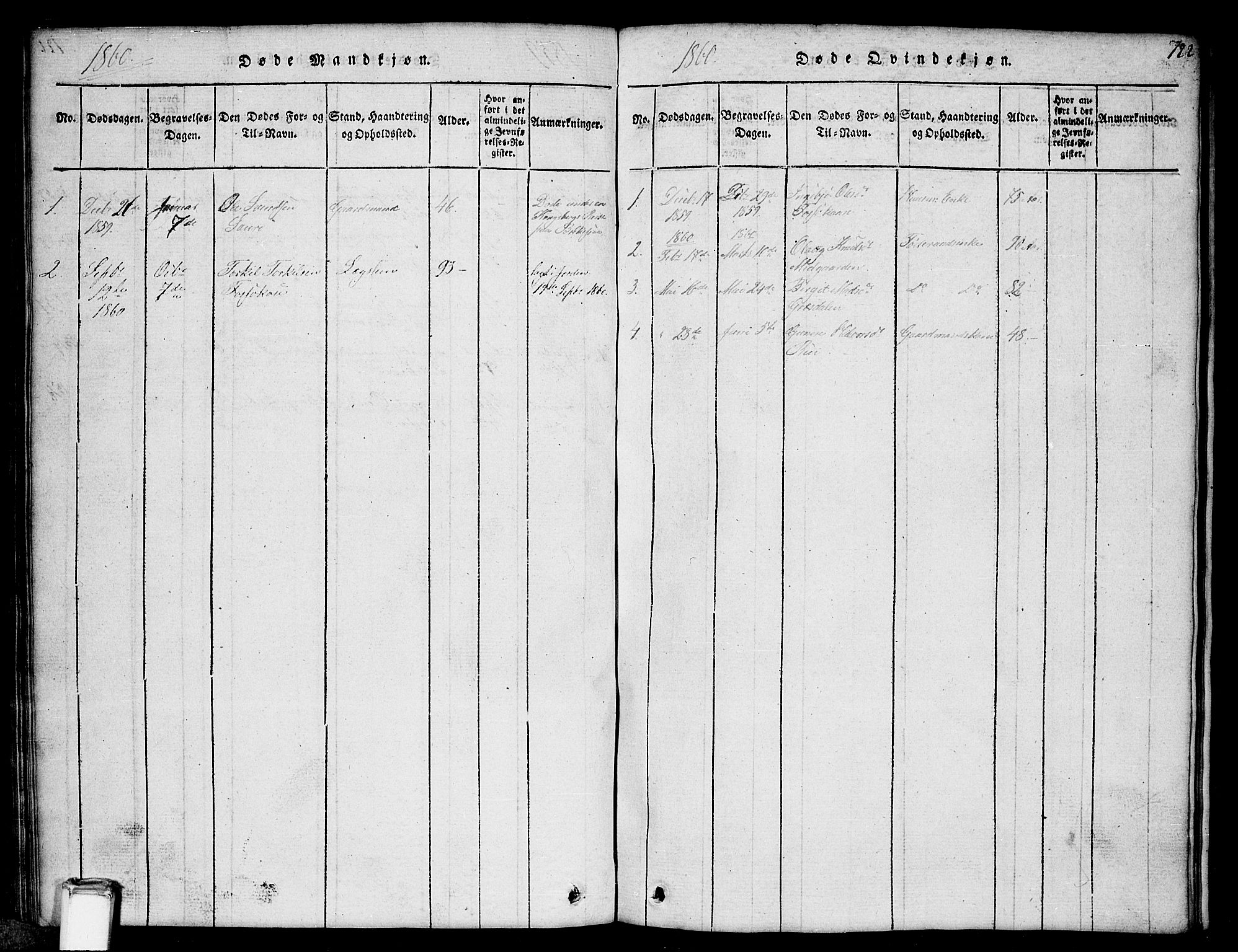 SAKO, Gransherad kirkebøker, G/Gb/L0001: Klokkerbok nr. II 1, 1815-1860, s. 122