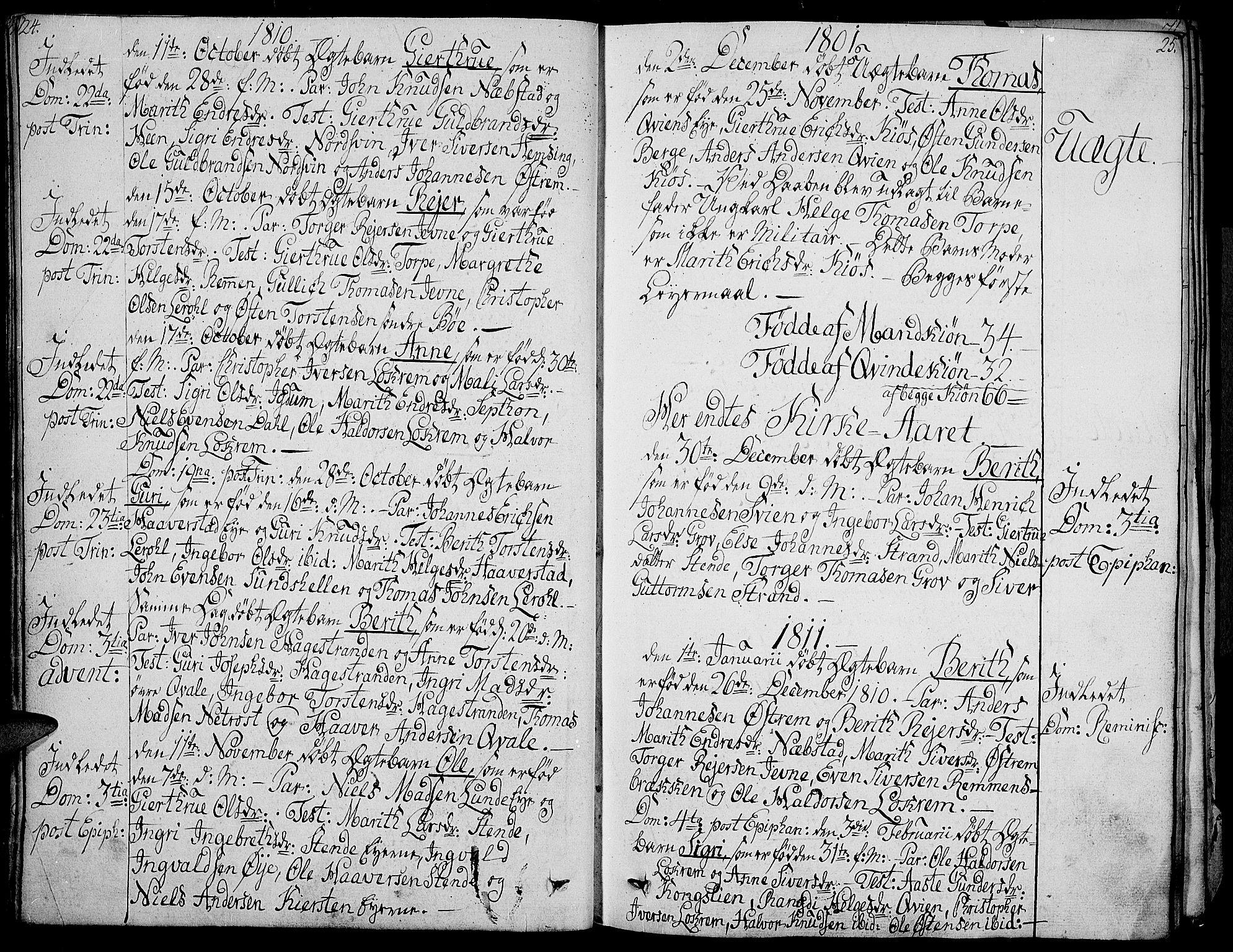 SAH, Vang prestekontor, Valdres, Ministerialbok nr. 3, 1809-1831, s. 24-25