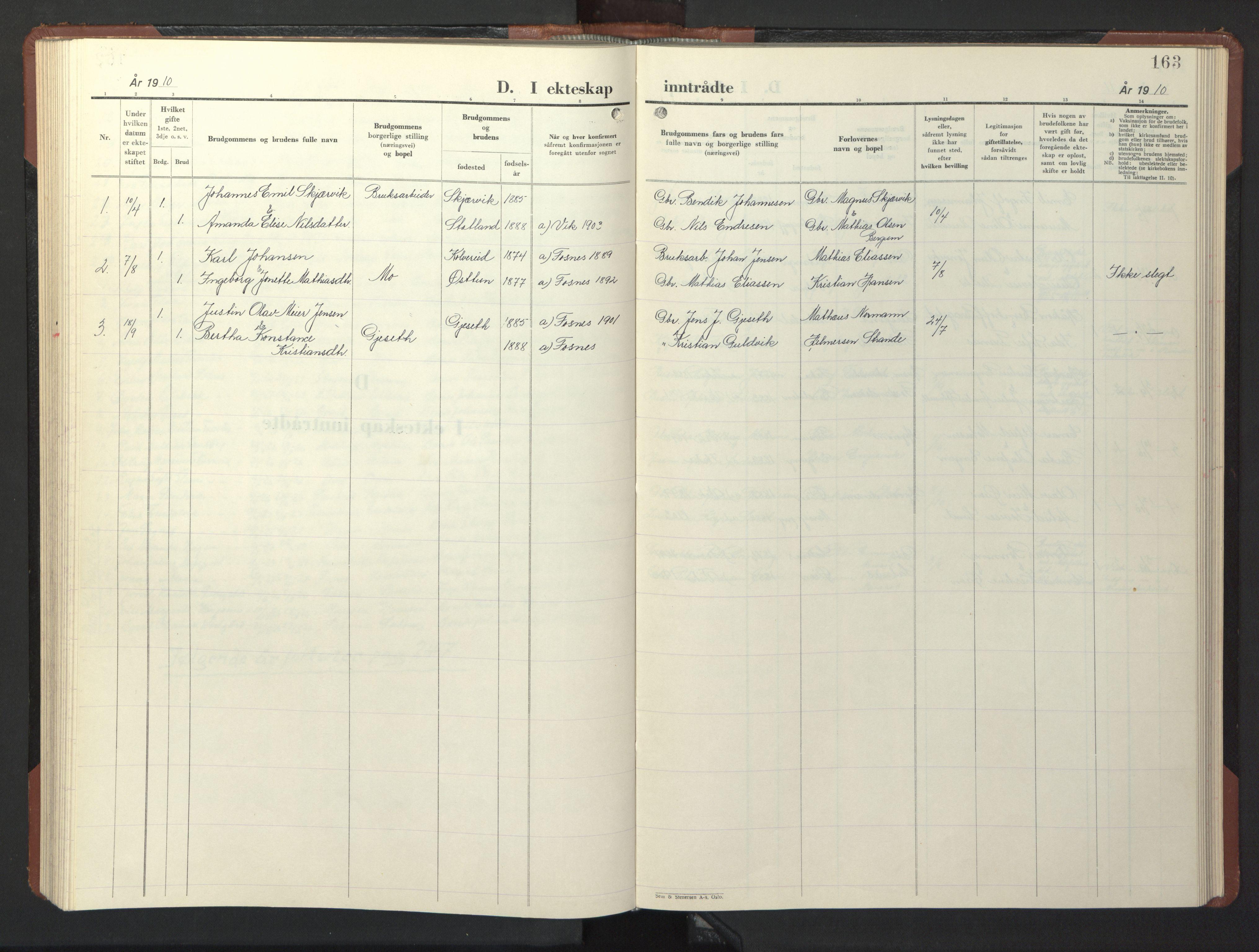SAT, Ministerialprotokoller, klokkerbøker og fødselsregistre - Nord-Trøndelag, 773/L0625: Klokkerbok nr. 773C01, 1910-1952, s. 163