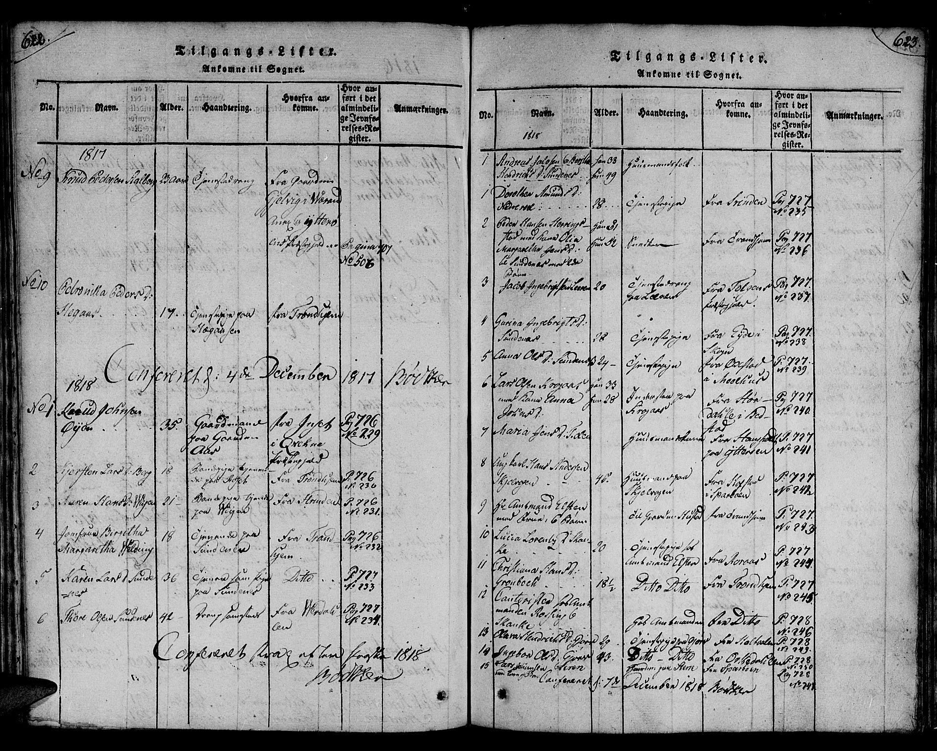 SAT, Ministerialprotokoller, klokkerbøker og fødselsregistre - Nord-Trøndelag, 730/L0275: Ministerialbok nr. 730A04, 1816-1822, s. 622-623