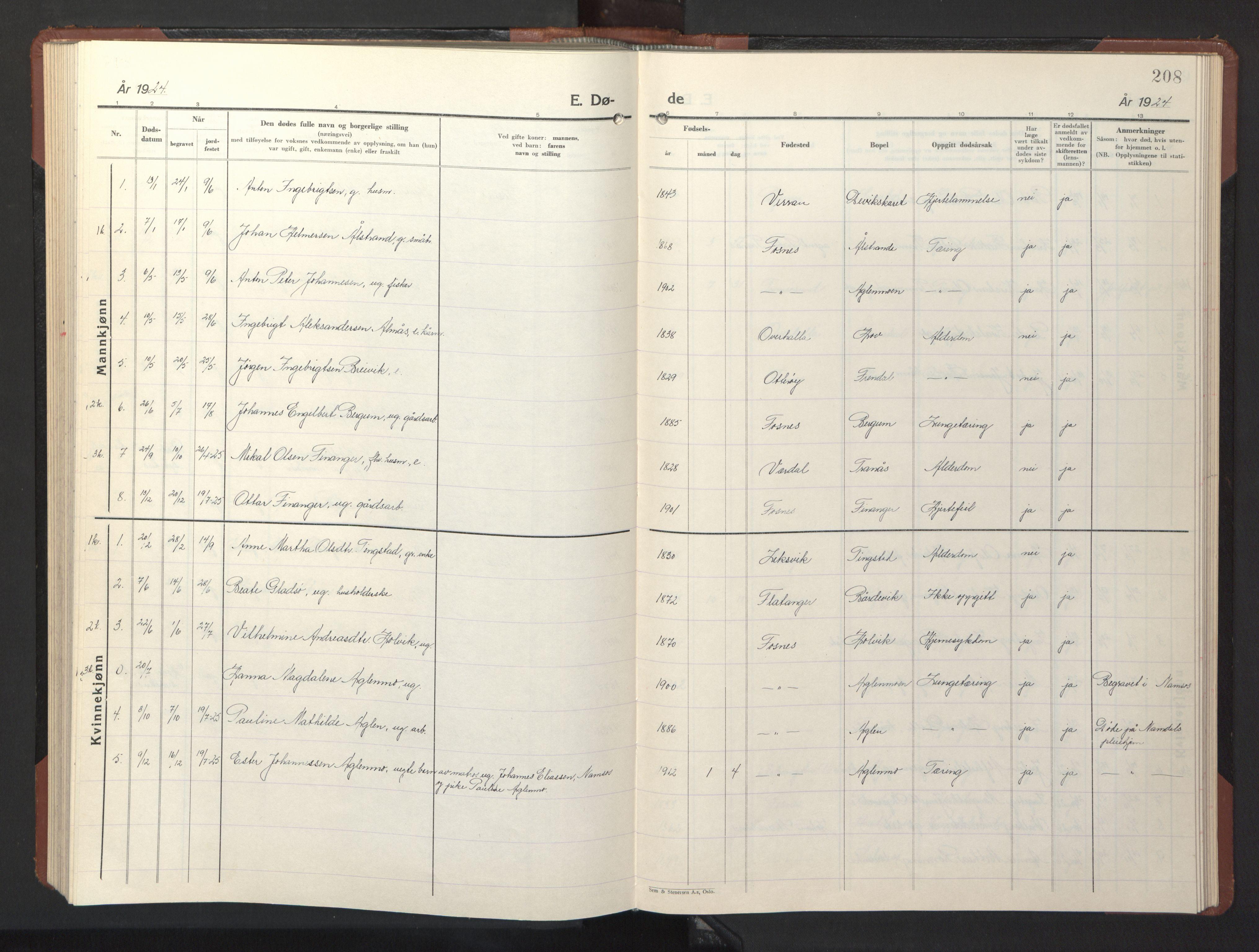 SAT, Ministerialprotokoller, klokkerbøker og fødselsregistre - Nord-Trøndelag, 773/L0625: Klokkerbok nr. 773C01, 1910-1952, s. 208