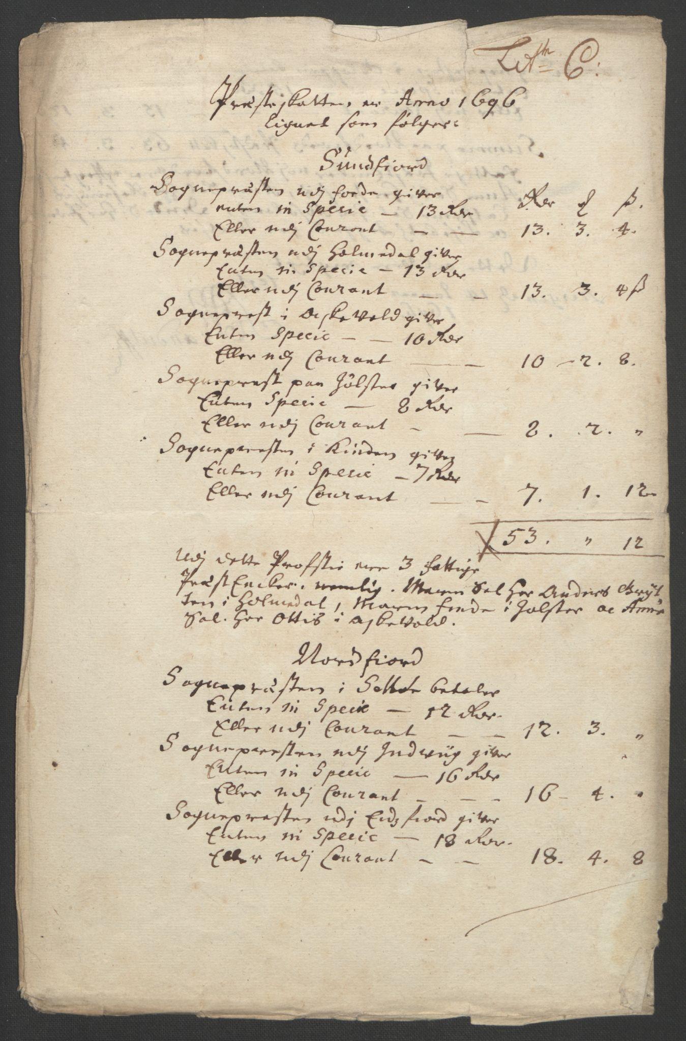 RA, Rentekammeret inntil 1814, Reviderte regnskaper, Fogderegnskap, R53/L3422: Fogderegnskap Sunn- og Nordfjord, 1695-1696, s. 276