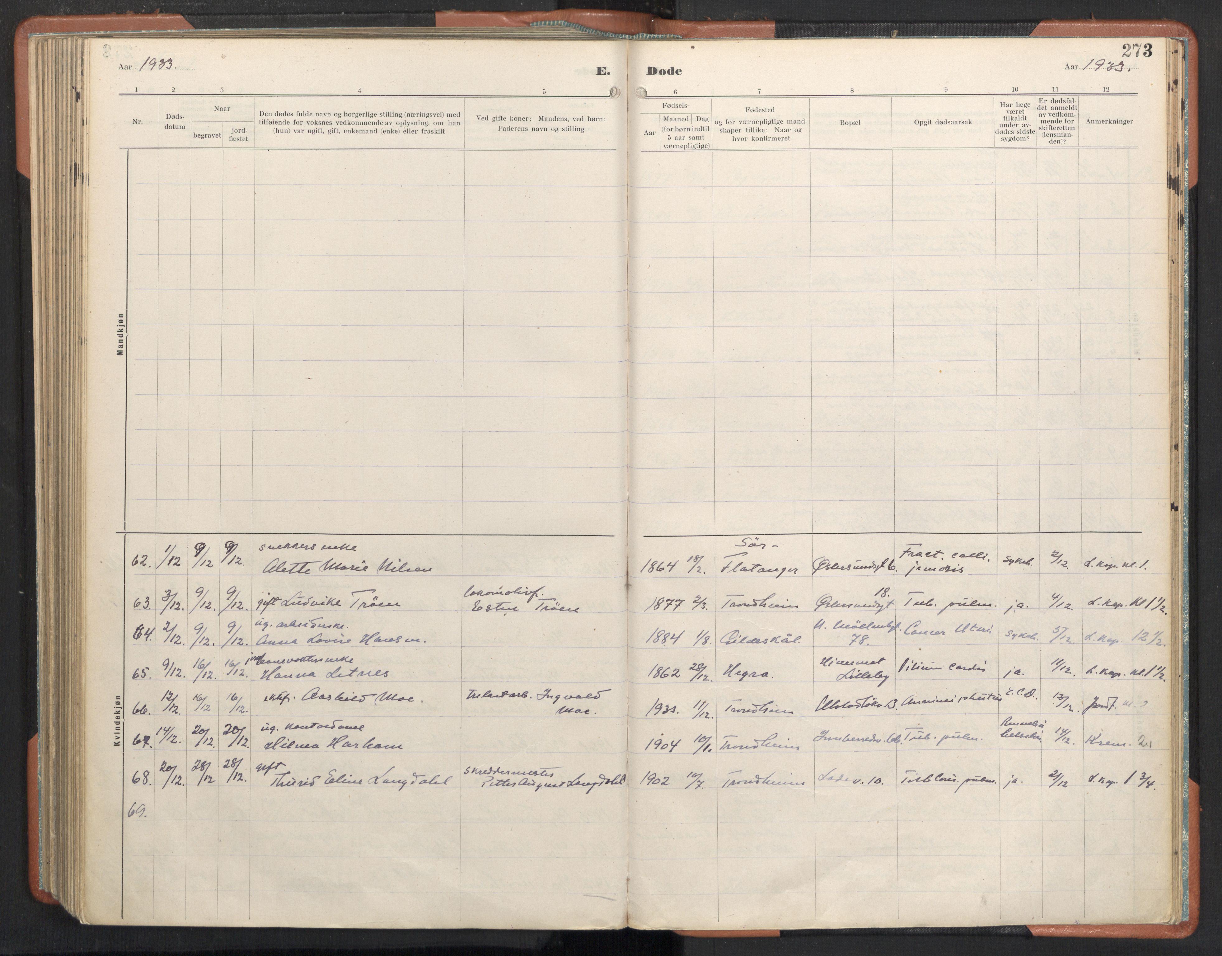 SAT, Ministerialprotokoller, klokkerbøker og fødselsregistre - Sør-Trøndelag, 605/L0245: Ministerialbok nr. 605A07, 1916-1938, s. 273