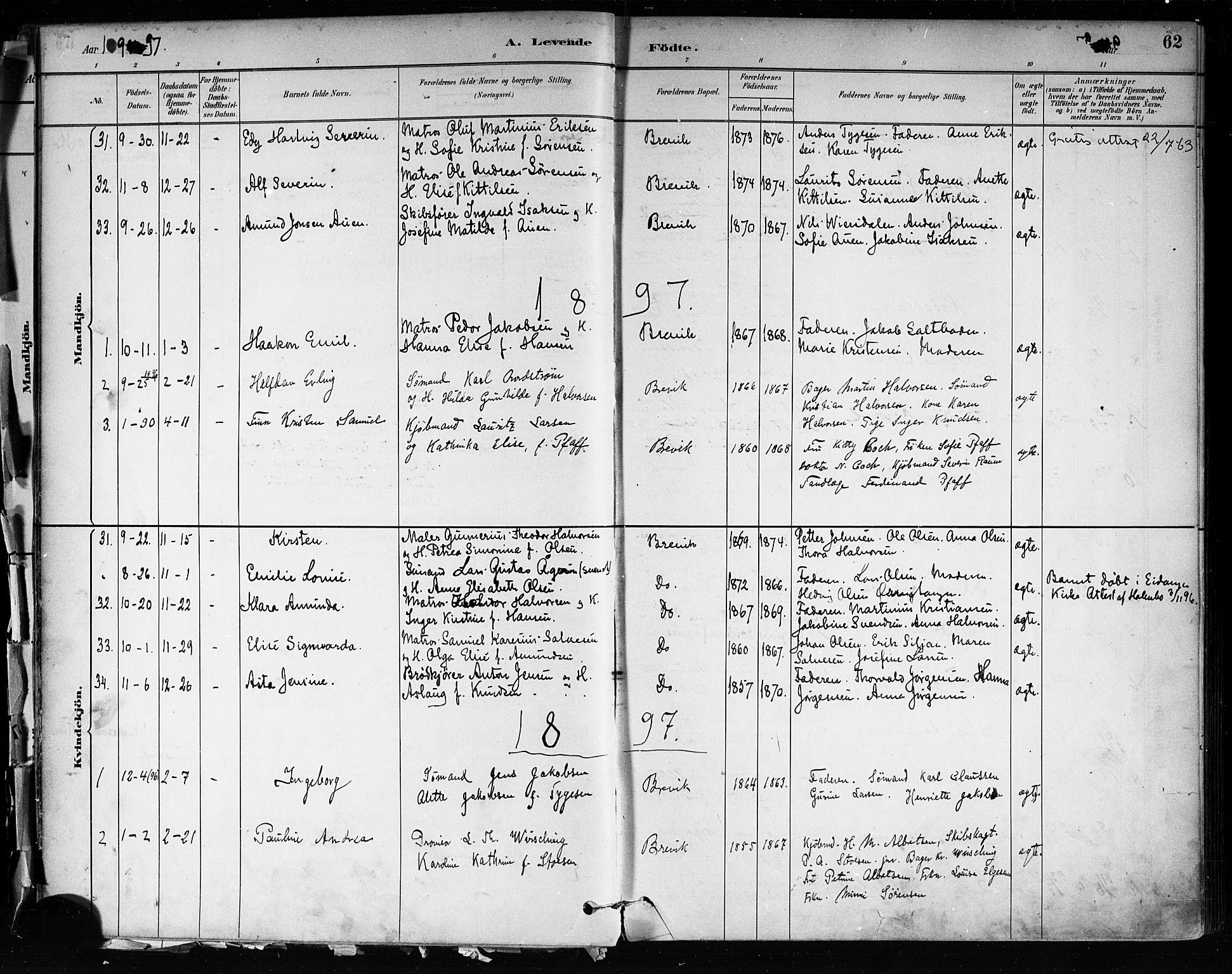 SAKO, Brevik kirkebøker, F/Fa/L0007: Ministerialbok nr. 7, 1882-1900, s. 62