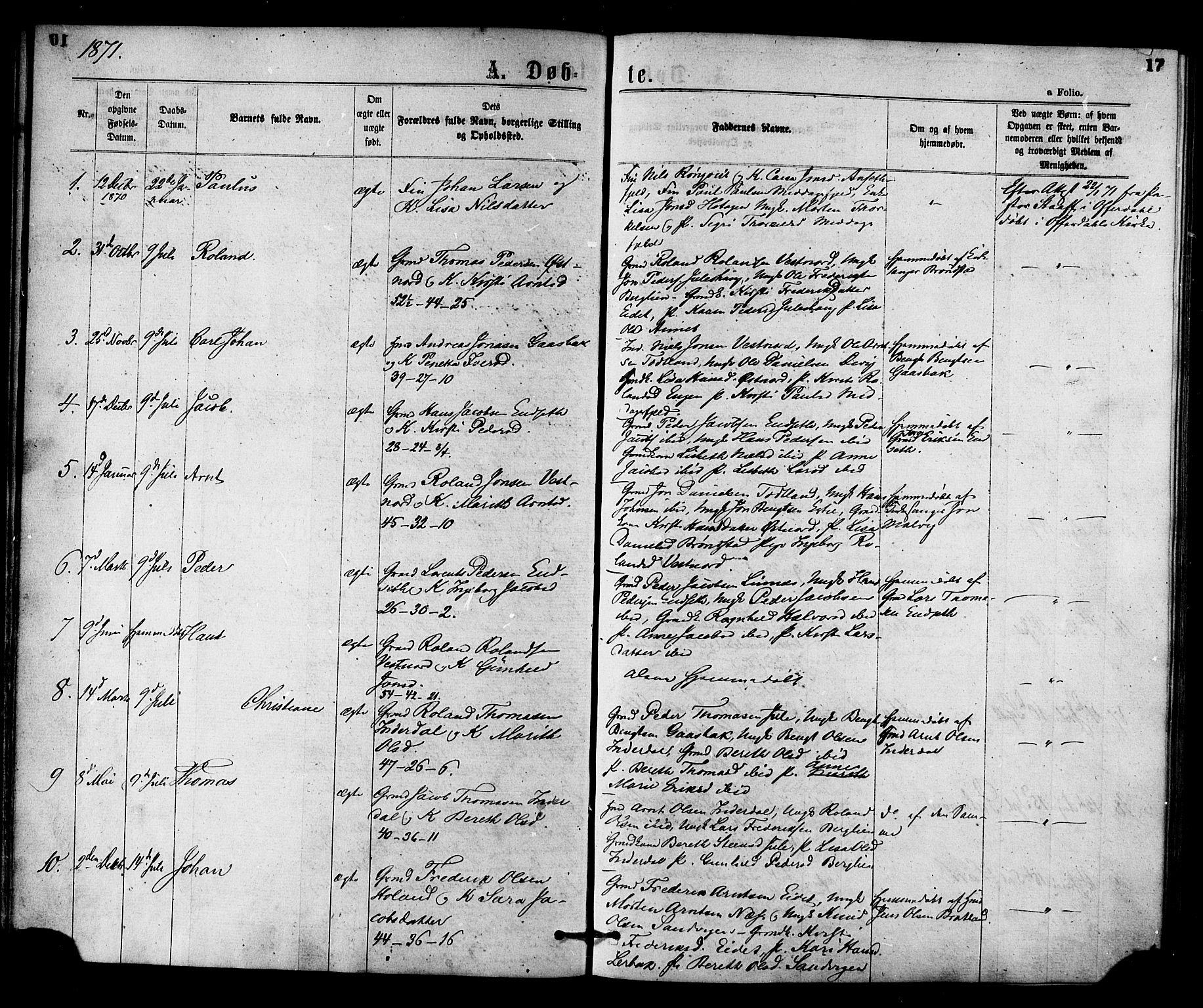 SAT, Ministerialprotokoller, klokkerbøker og fødselsregistre - Nord-Trøndelag, 755/L0493: Ministerialbok nr. 755A02, 1865-1881, s. 17