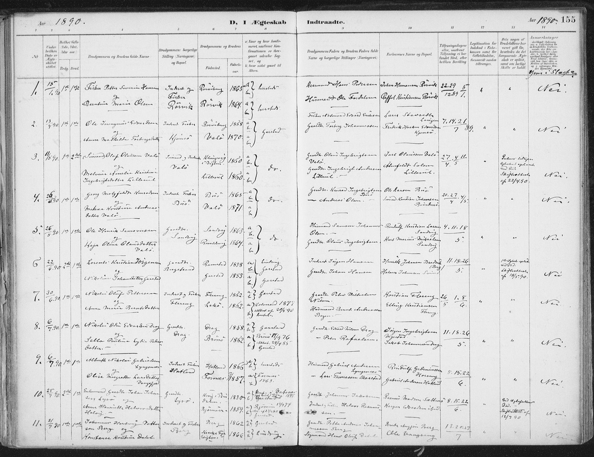SAT, Ministerialprotokoller, klokkerbøker og fødselsregistre - Nord-Trøndelag, 786/L0687: Ministerialbok nr. 786A03, 1888-1898, s. 155