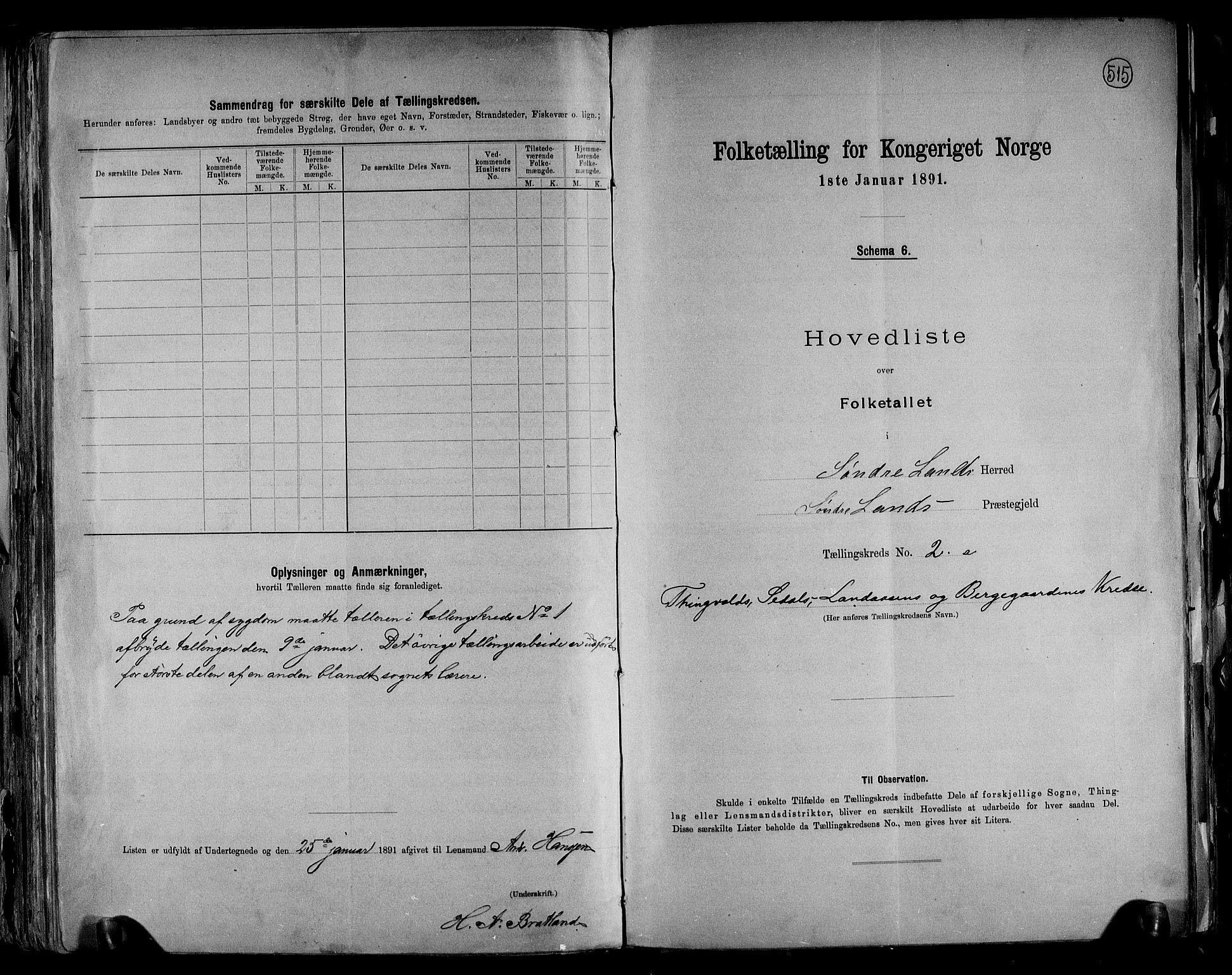 RA, Folketelling 1891 for 0536 Søndre Land herred, 1891, s. 6