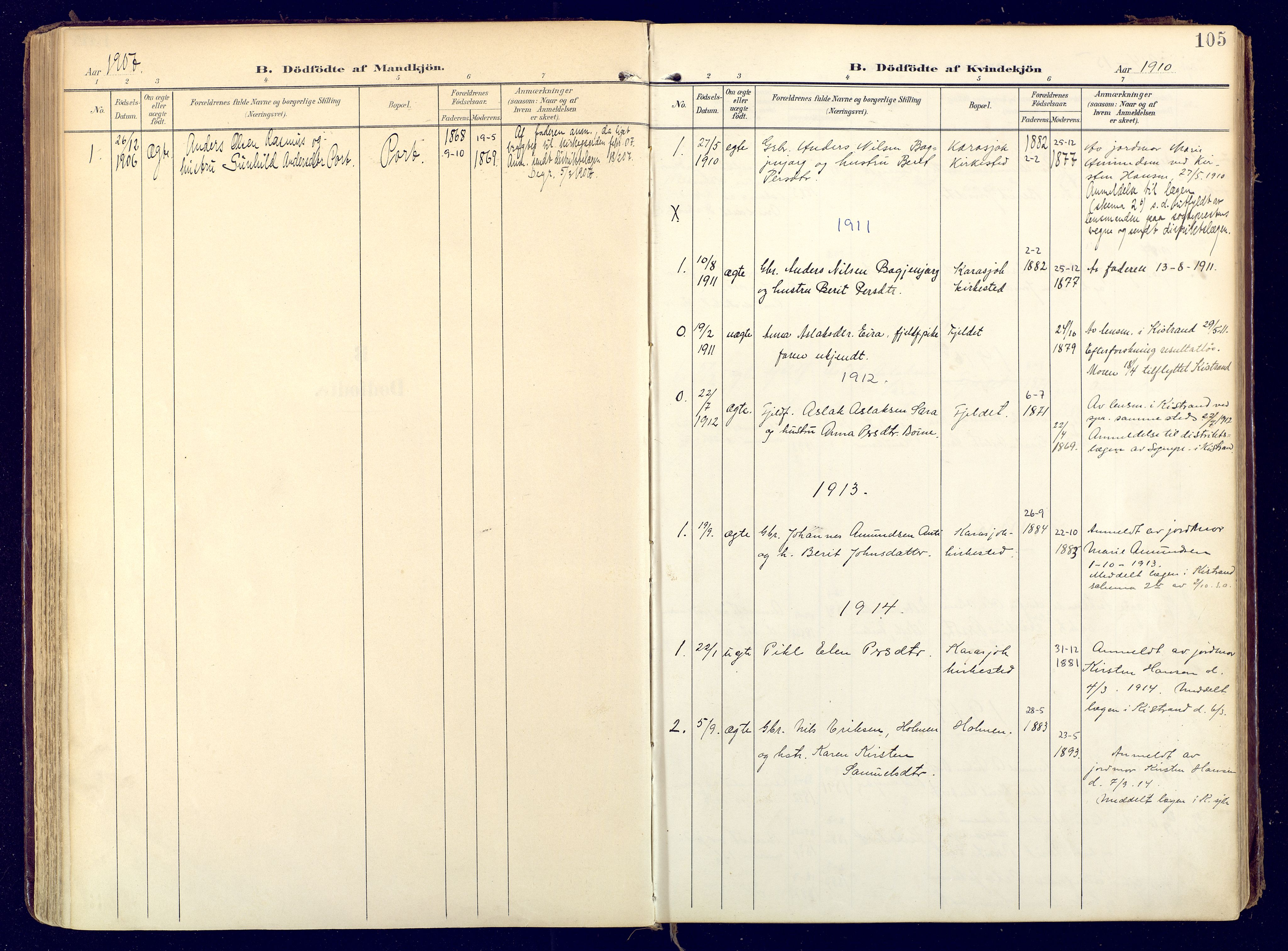 SATØ, Karasjok sokneprestkontor, H/Ha: Ministerialbok nr. 3, 1907-1926, s. 105