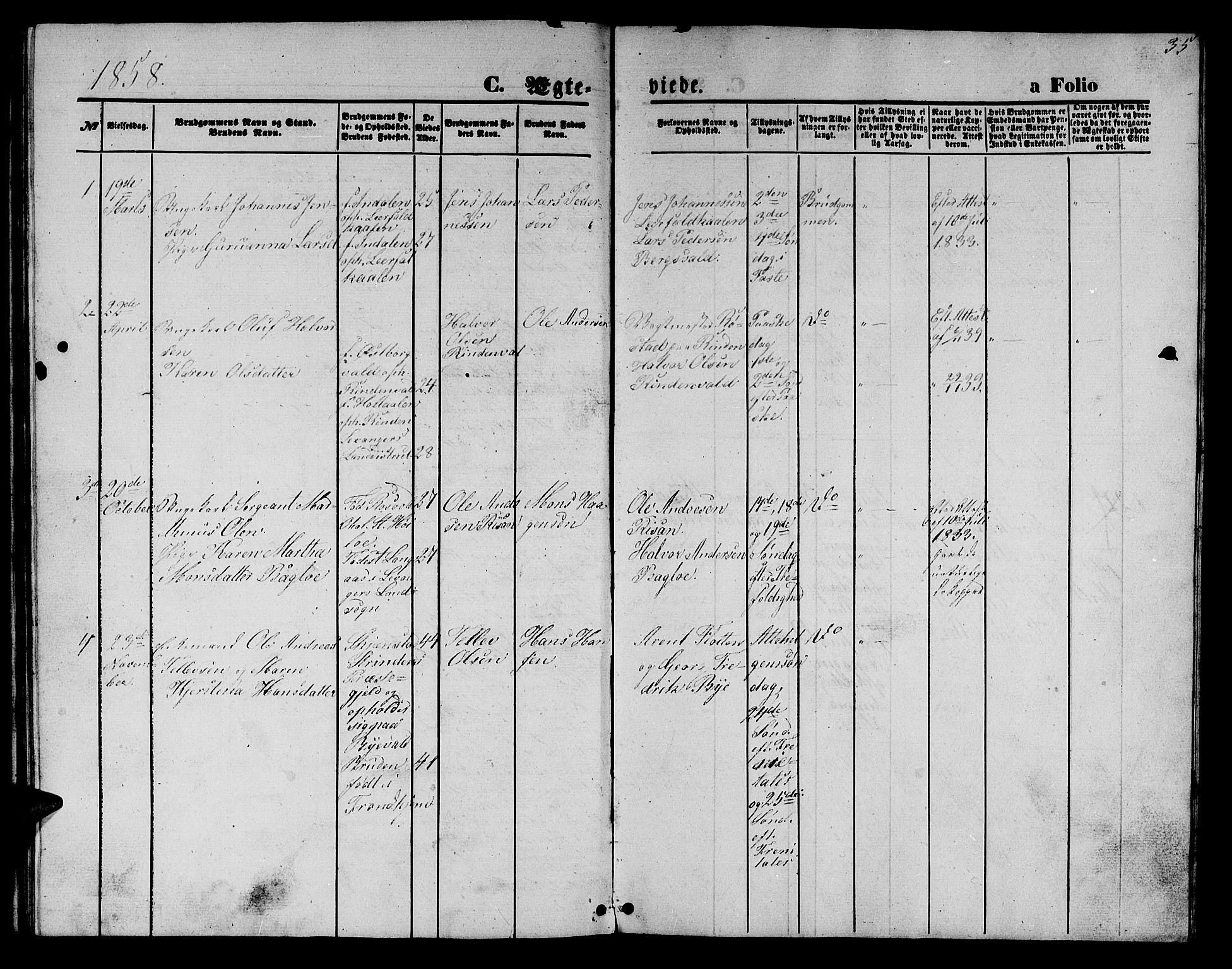 SAT, Ministerialprotokoller, klokkerbøker og fødselsregistre - Nord-Trøndelag, 726/L0270: Klokkerbok nr. 726C01, 1858-1868, s. 35