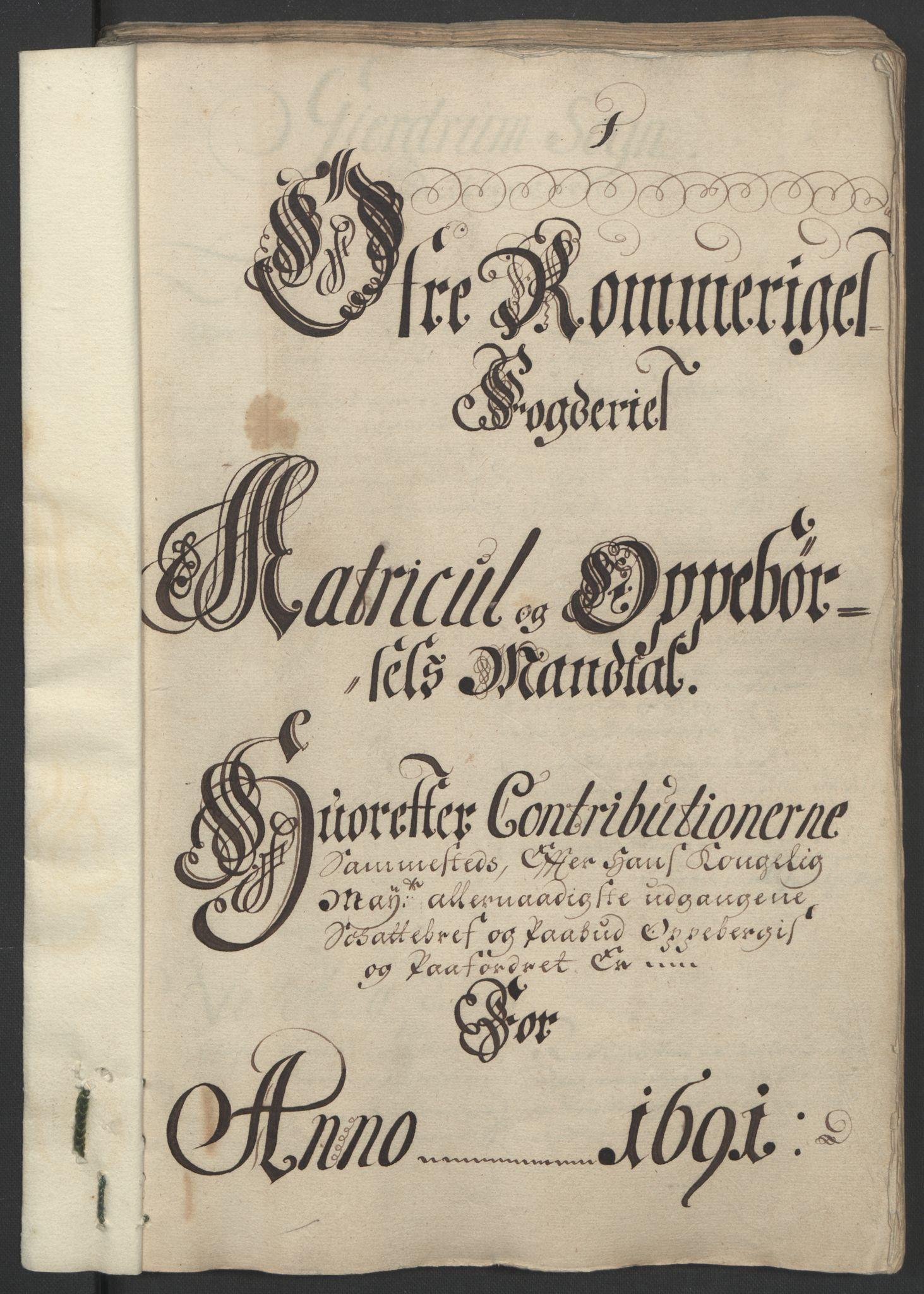 RA, Rentekammeret inntil 1814, Reviderte regnskaper, Fogderegnskap, R12/L0703: Fogderegnskap Øvre Romerike, 1691, s. 59
