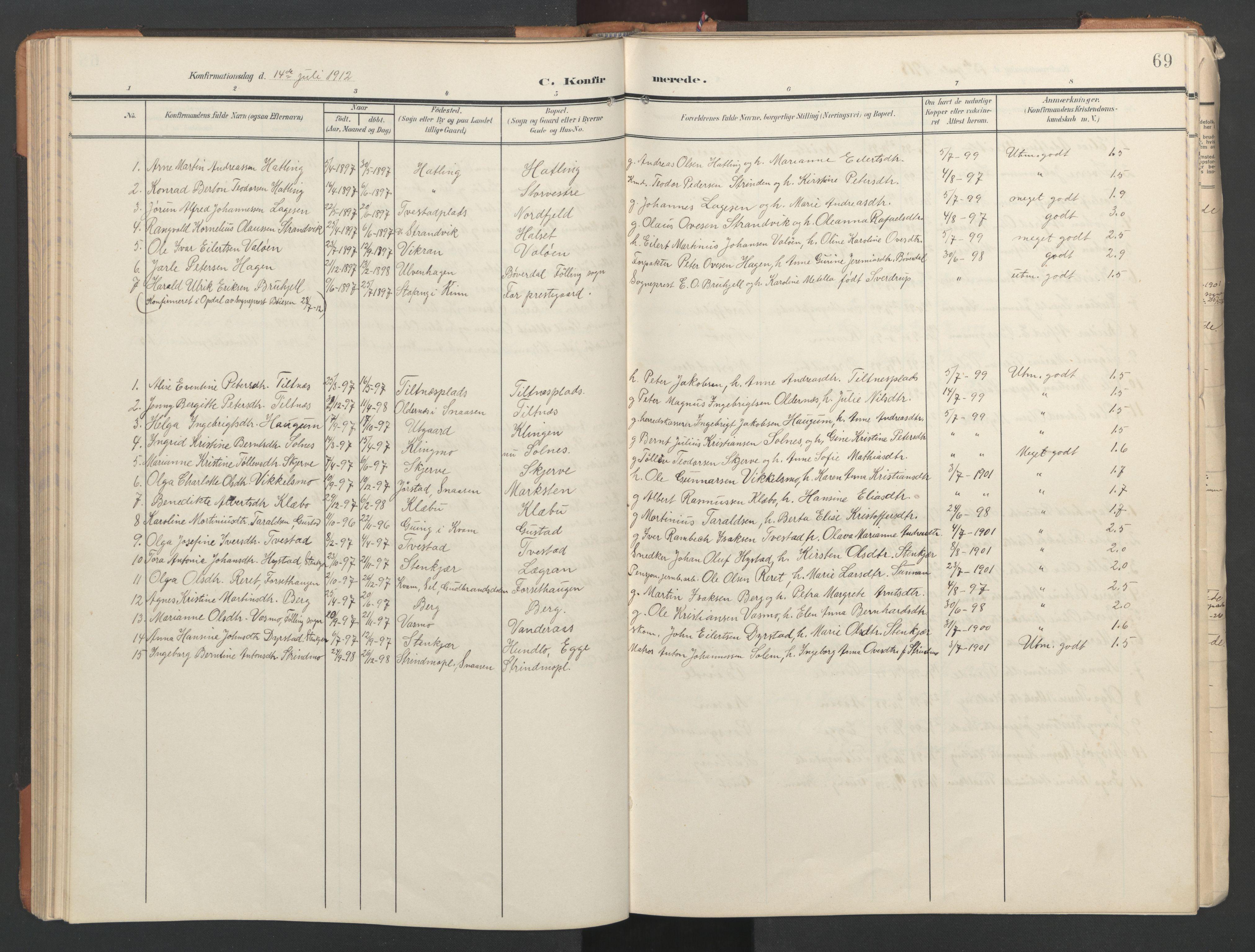 SAT, Ministerialprotokoller, klokkerbøker og fødselsregistre - Nord-Trøndelag, 746/L0455: Klokkerbok nr. 746C01, 1908-1933, s. 69