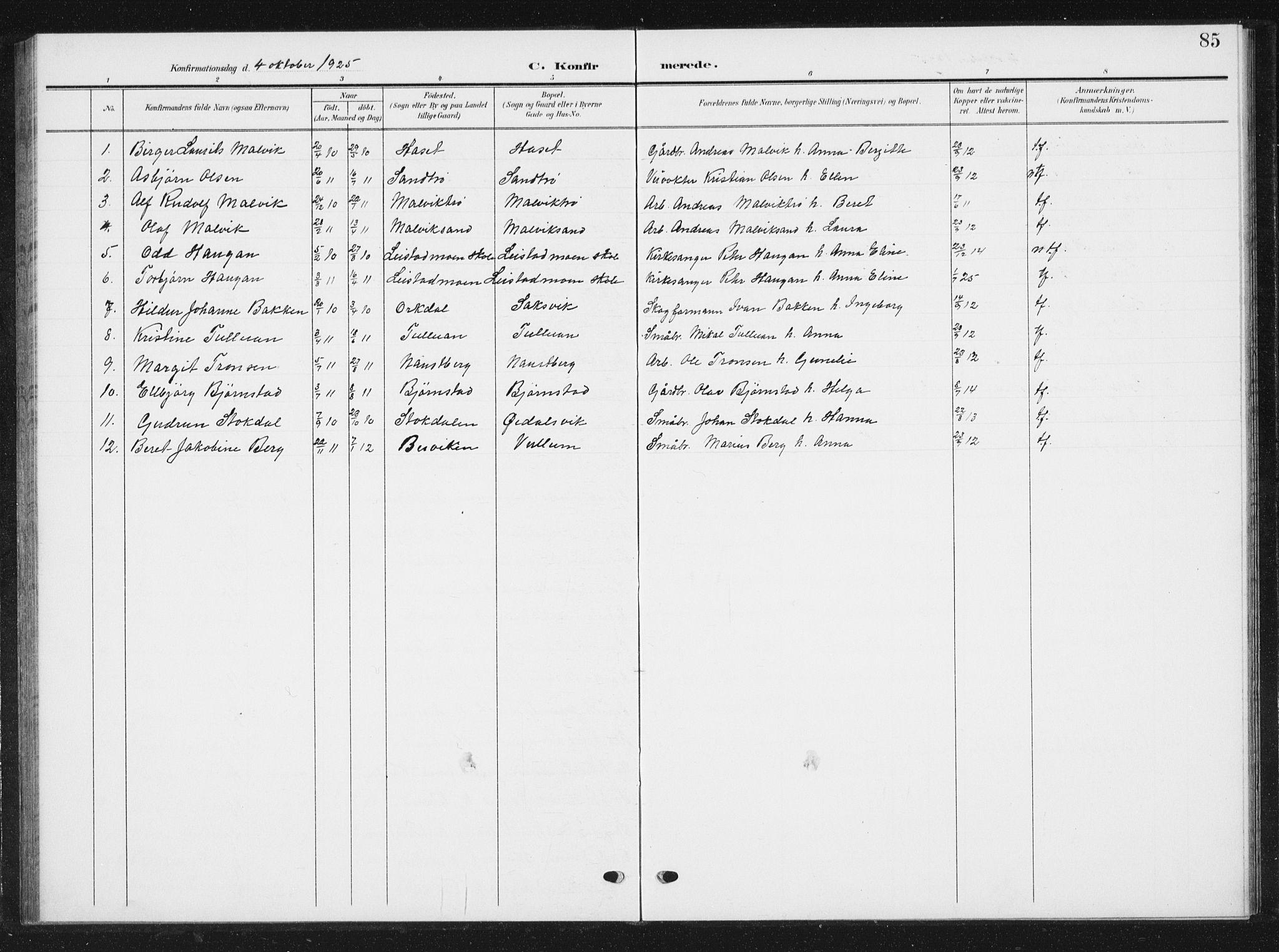 SAT, Ministerialprotokoller, klokkerbøker og fødselsregistre - Sør-Trøndelag, 616/L0424: Klokkerbok nr. 616C07, 1904-1940, s. 85