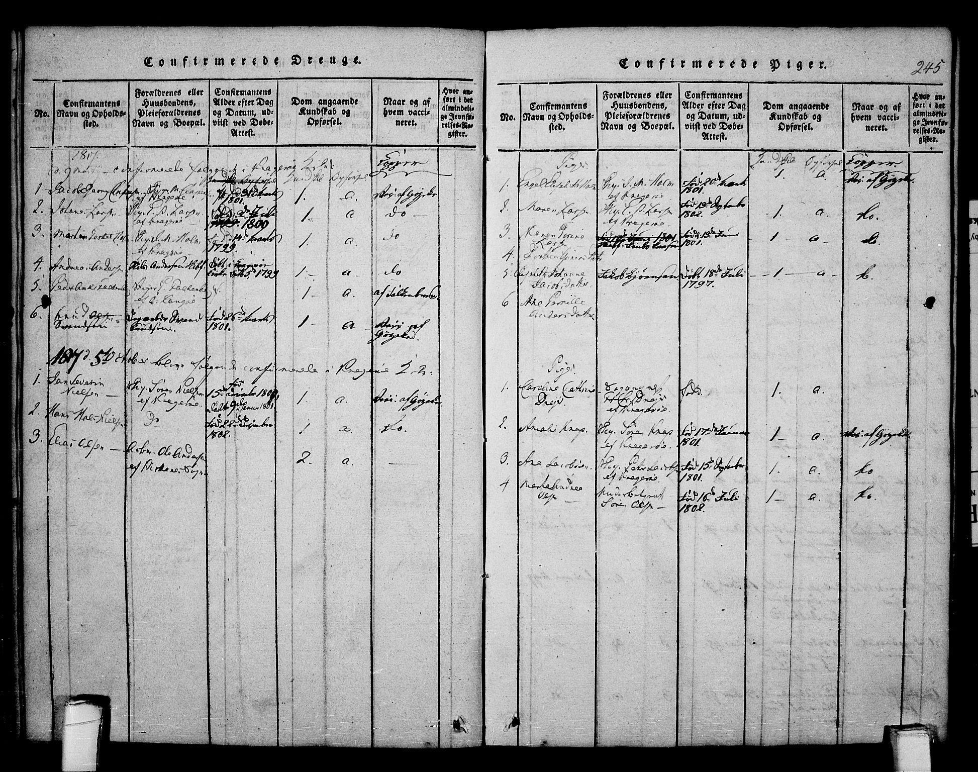 SAKO, Kragerø kirkebøker, F/Fa/L0004: Ministerialbok nr. 4, 1814-1831, s. 245