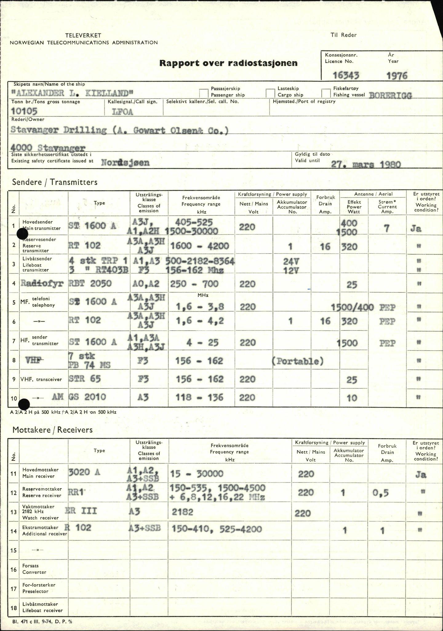 SAST, Pa 1503 - Stavanger Drilling AS, E/Eb/Eba/L0008: Sak og korrespondanse, 1975-1980
