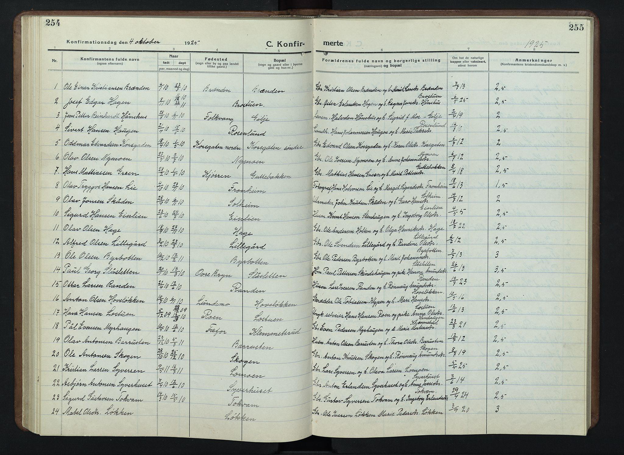 SAH, Nord-Fron prestekontor, Klokkerbok nr. 7, 1915-1946, s. 254-255