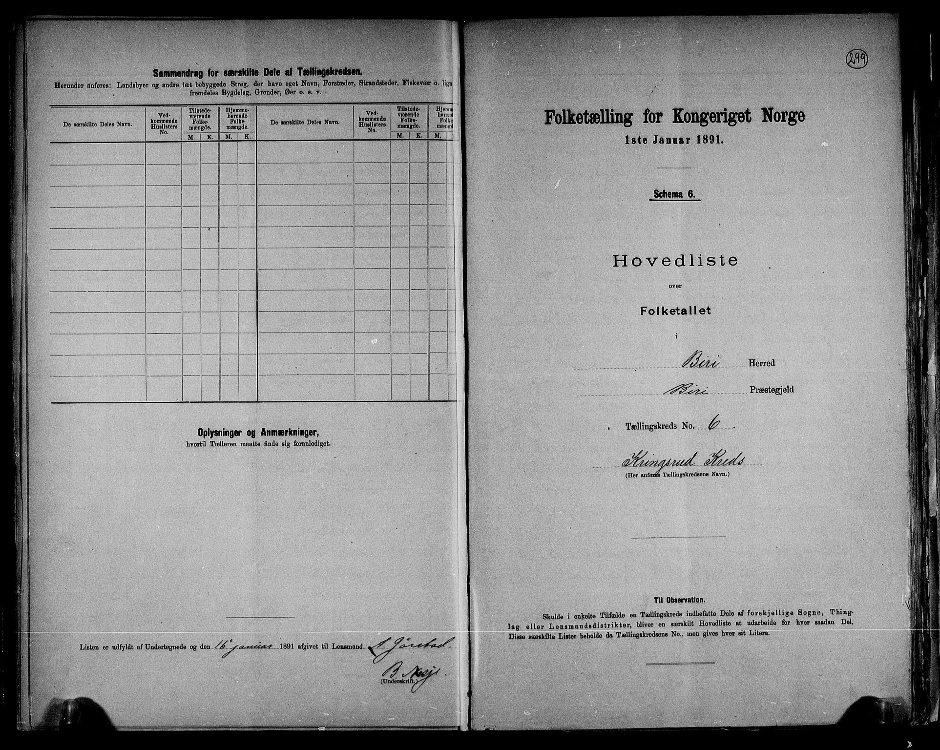 RA, Folketelling 1891 for 0525 Biri herred, 1891, s. 16