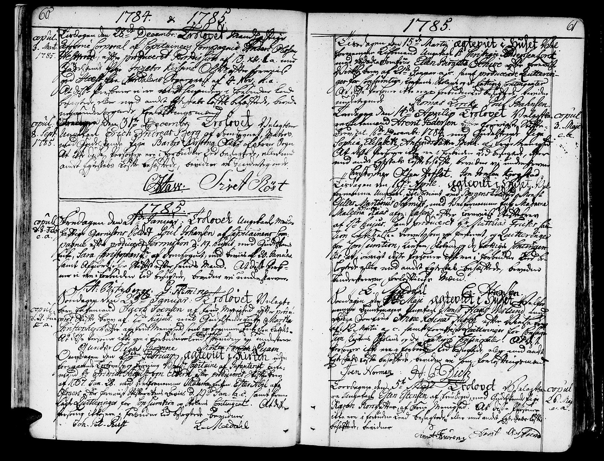 SAT, Ministerialprotokoller, klokkerbøker og fødselsregistre - Sør-Trøndelag, 602/L0105: Ministerialbok nr. 602A03, 1774-1814, s. 60-61