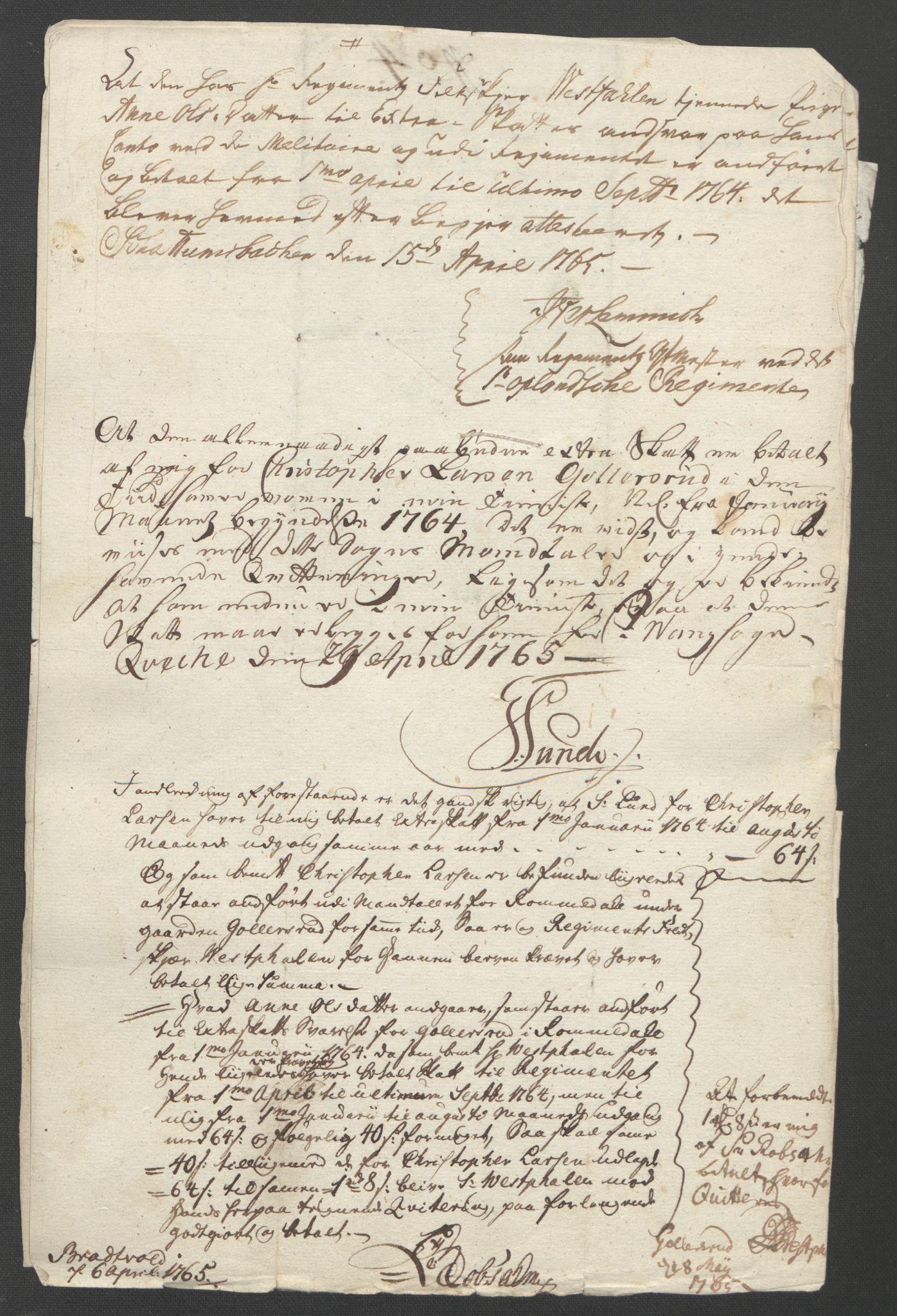 RA, Rentekammeret inntil 1814, Reviderte regnskaper, Fogderegnskap, R16/L1148: Ekstraskatten Hedmark, 1764, s. 319