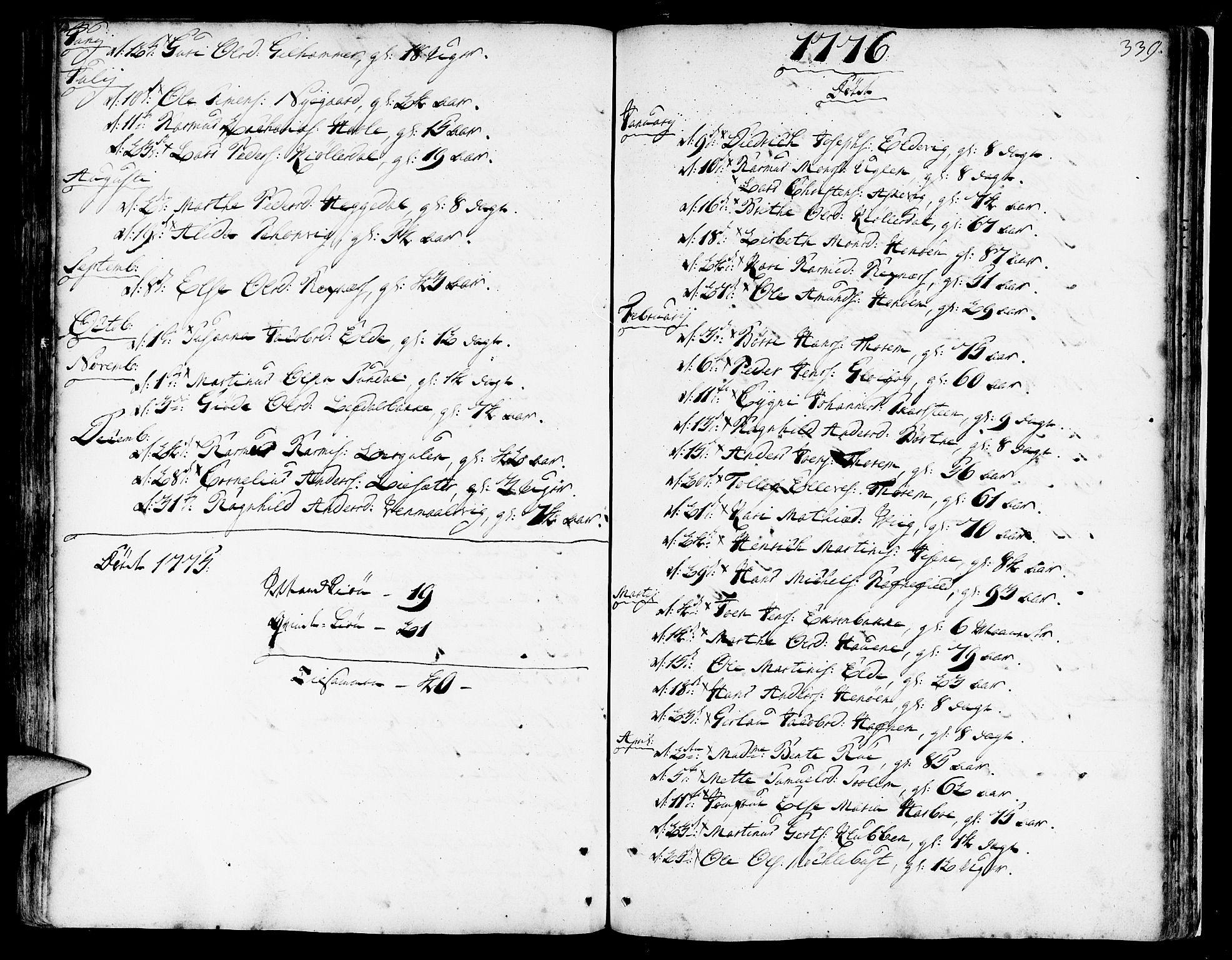 SAB, Davik Sokneprestembete, Ministerialbok nr. A 2, 1742-1816, s. 339