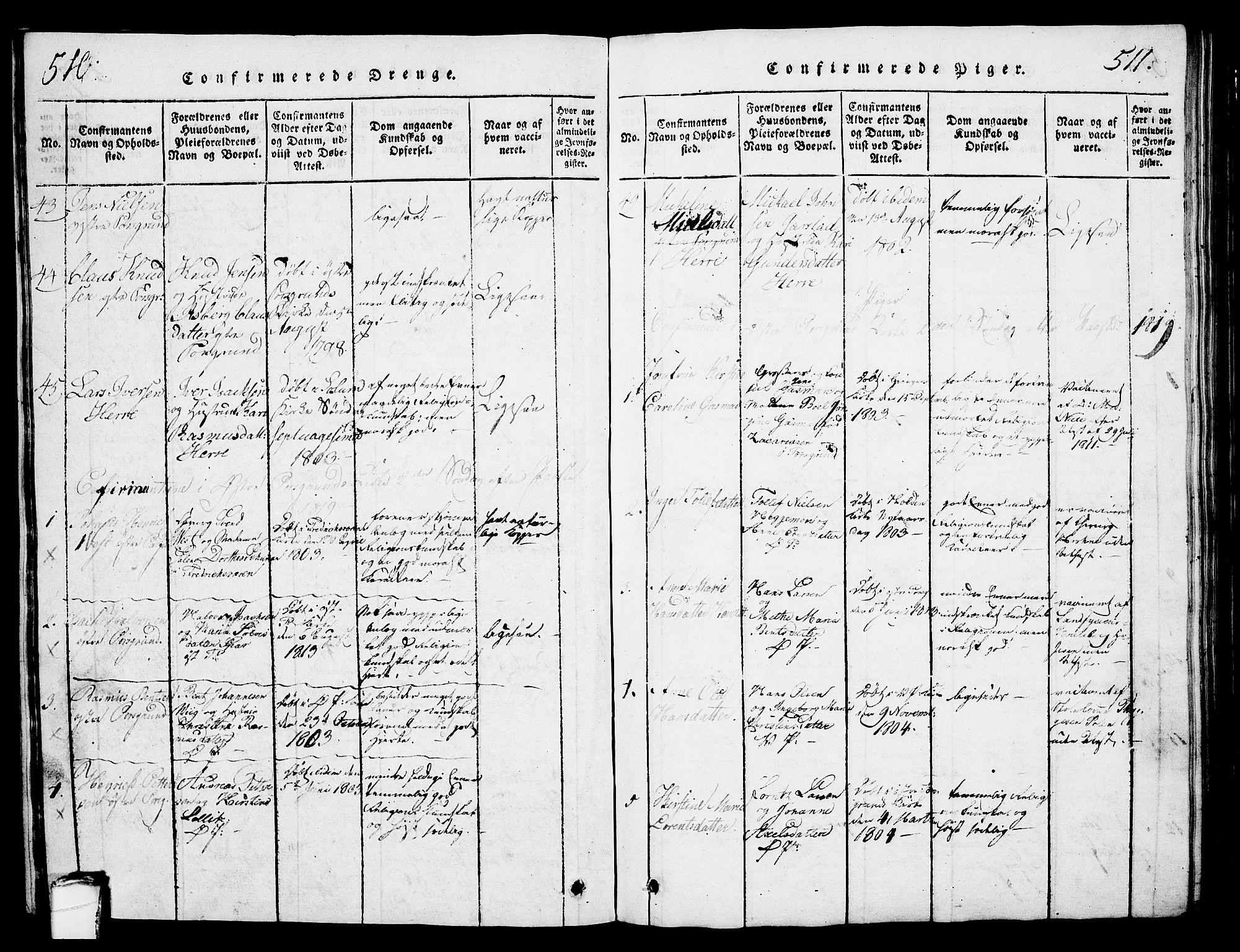 SAKO, Porsgrunn kirkebøker , G/Gb/L0001: Klokkerbok nr. II 1, 1817-1828, s. 510-511