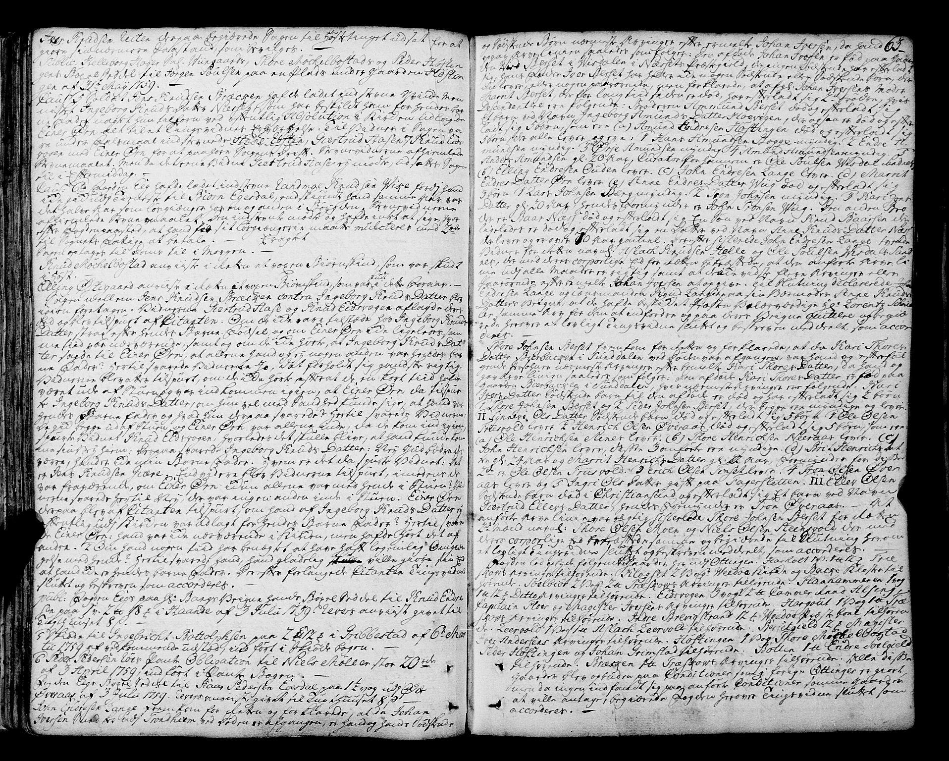 SAT, Romsdal sorenskriveri, 1/1A/L0014: Tingbok, 1757-1765, s. 63