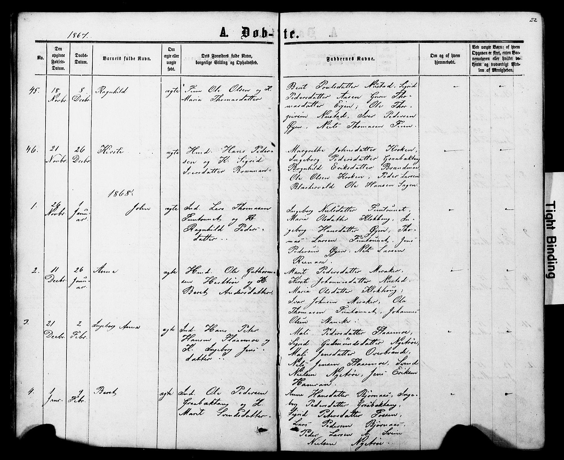 SAT, Ministerialprotokoller, klokkerbøker og fødselsregistre - Nord-Trøndelag, 706/L0049: Klokkerbok nr. 706C01, 1864-1895, s. 22