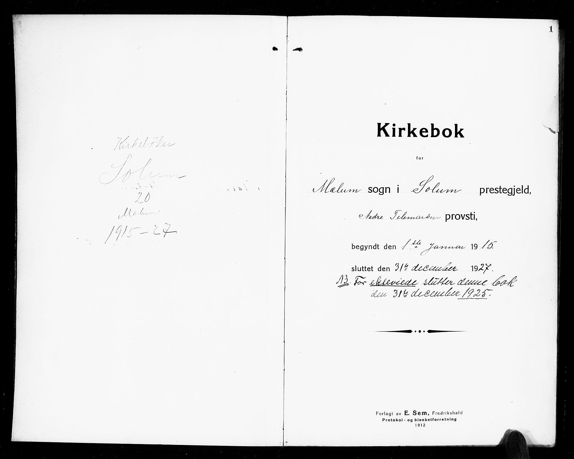 SAKO, Solum kirkebøker, G/Gb/L0006: Klokkerbok nr. II 6, 1915-1927, s. 1