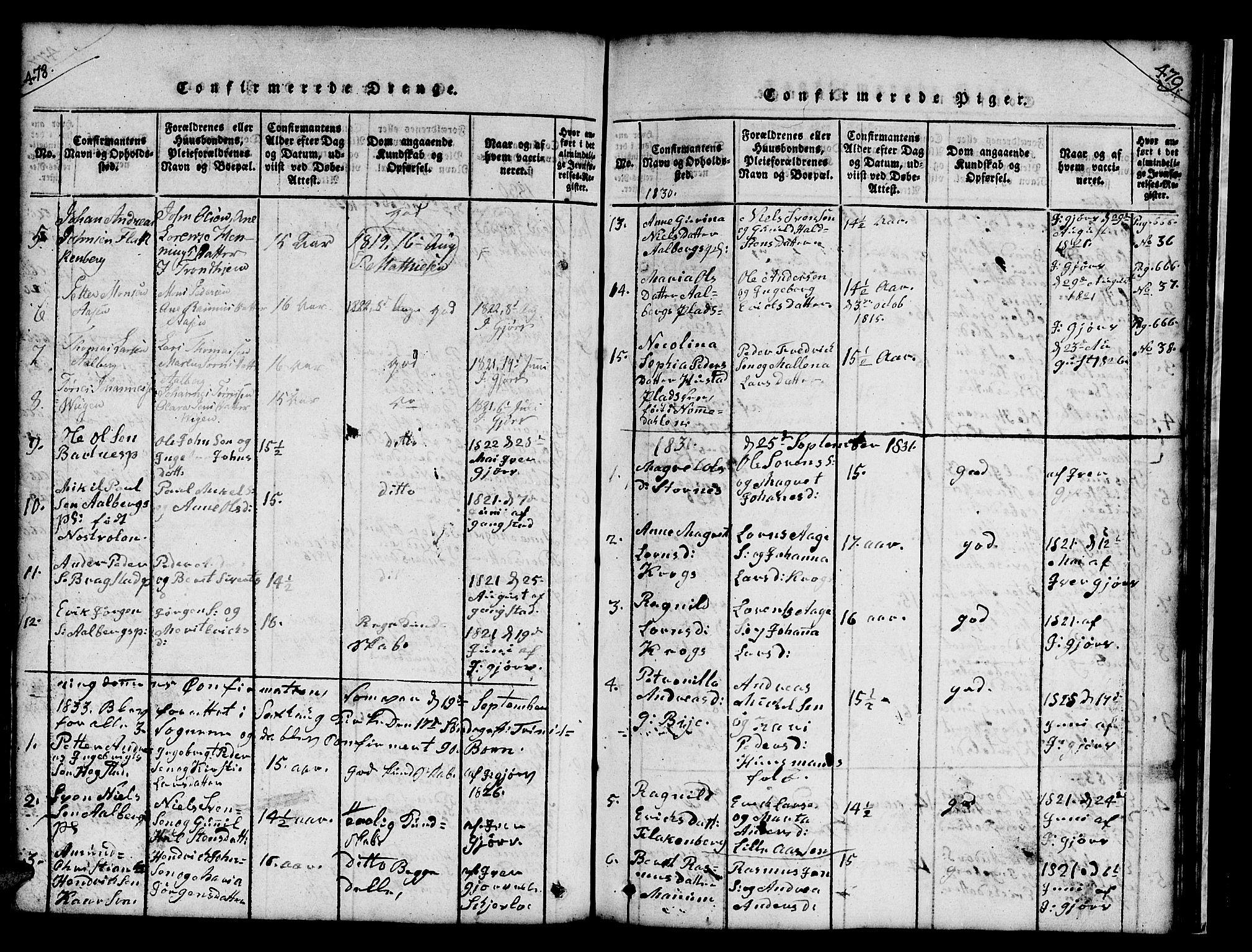 SAT, Ministerialprotokoller, klokkerbøker og fødselsregistre - Nord-Trøndelag, 732/L0317: Klokkerbok nr. 732C01, 1816-1881, s. 478-479