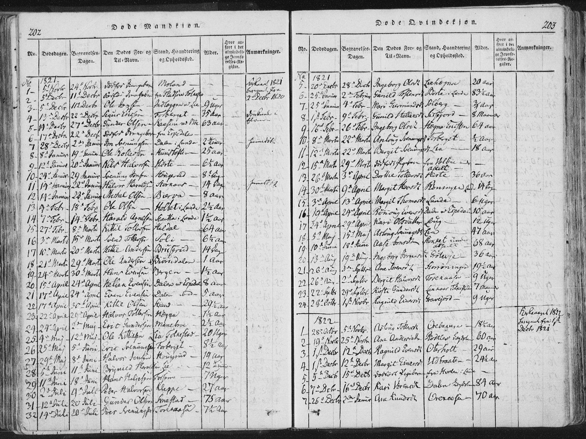 SAKO, Bø kirkebøker, F/Fa/L0006: Ministerialbok nr. 6, 1815-1831, s. 202-203