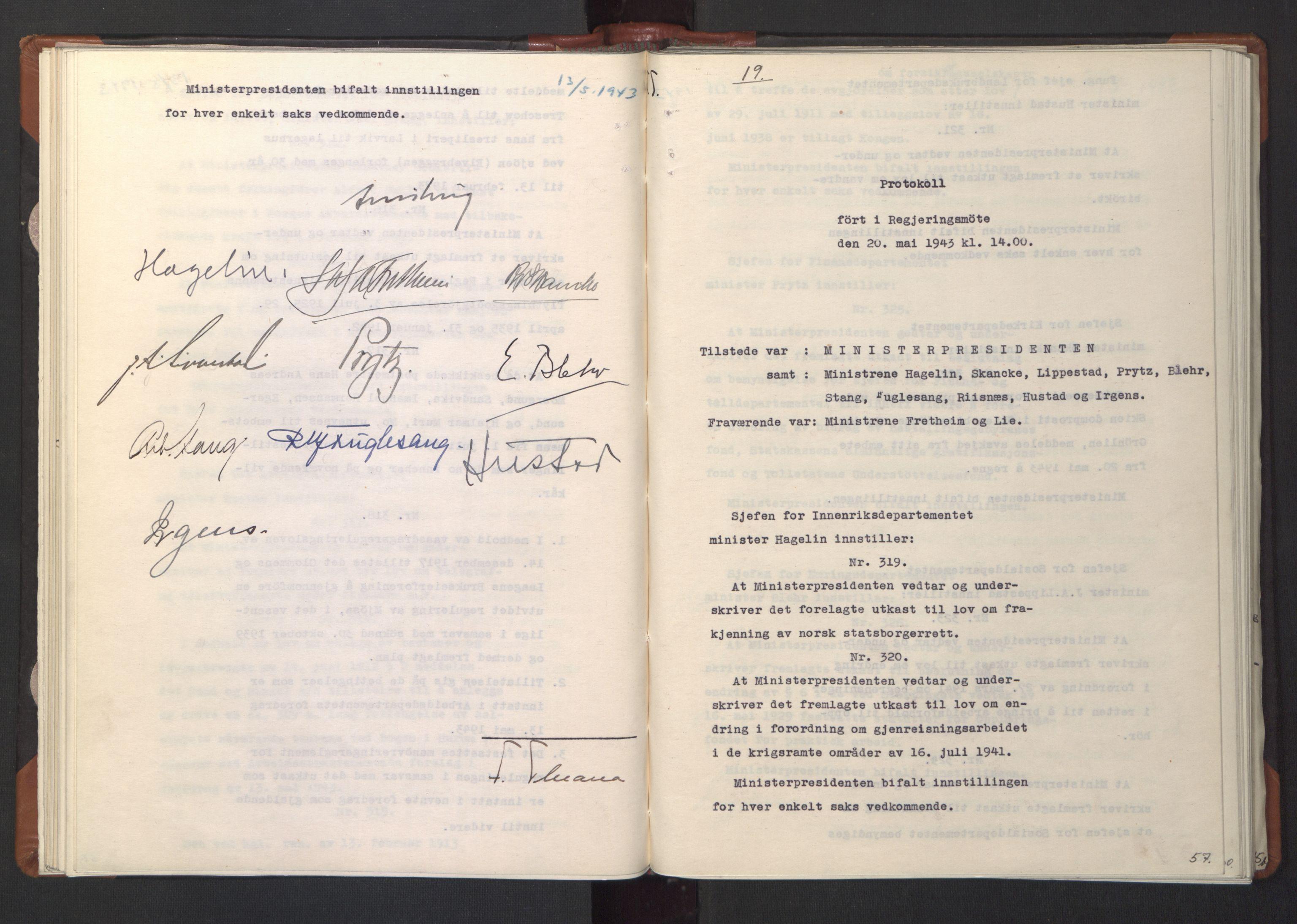 RA, NS-administrasjonen 1940-1945 (Statsrådsekretariatet, de kommisariske statsråder mm), D/Da/L0003: Vedtak (Beslutninger) nr. 1-746 og tillegg nr. 1-47 (RA. j.nr. 1394/1944, tilgangsnr. 8/1944, 1943, s. 56b-57a