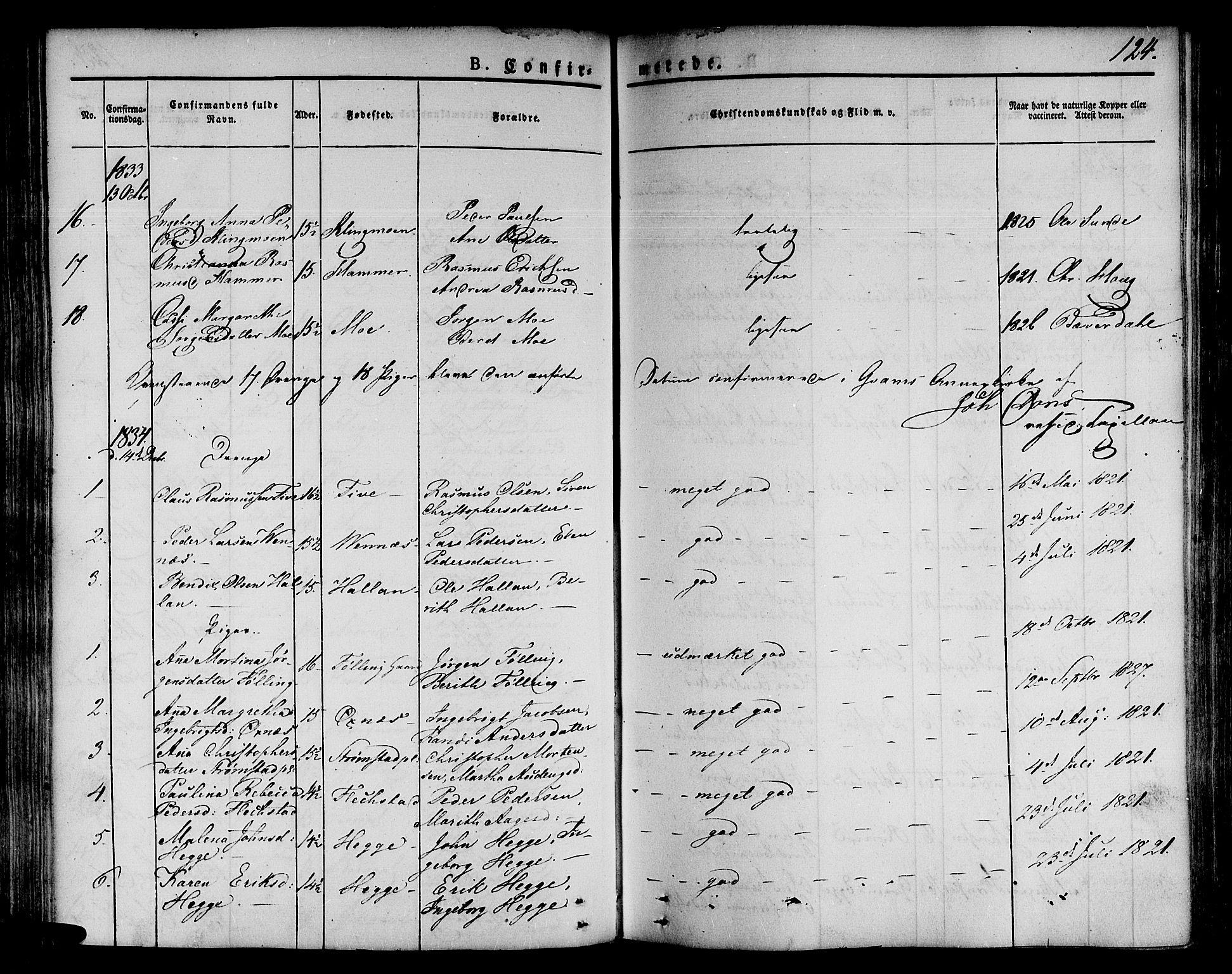 SAT, Ministerialprotokoller, klokkerbøker og fødselsregistre - Nord-Trøndelag, 746/L0445: Ministerialbok nr. 746A04, 1826-1846, s. 124