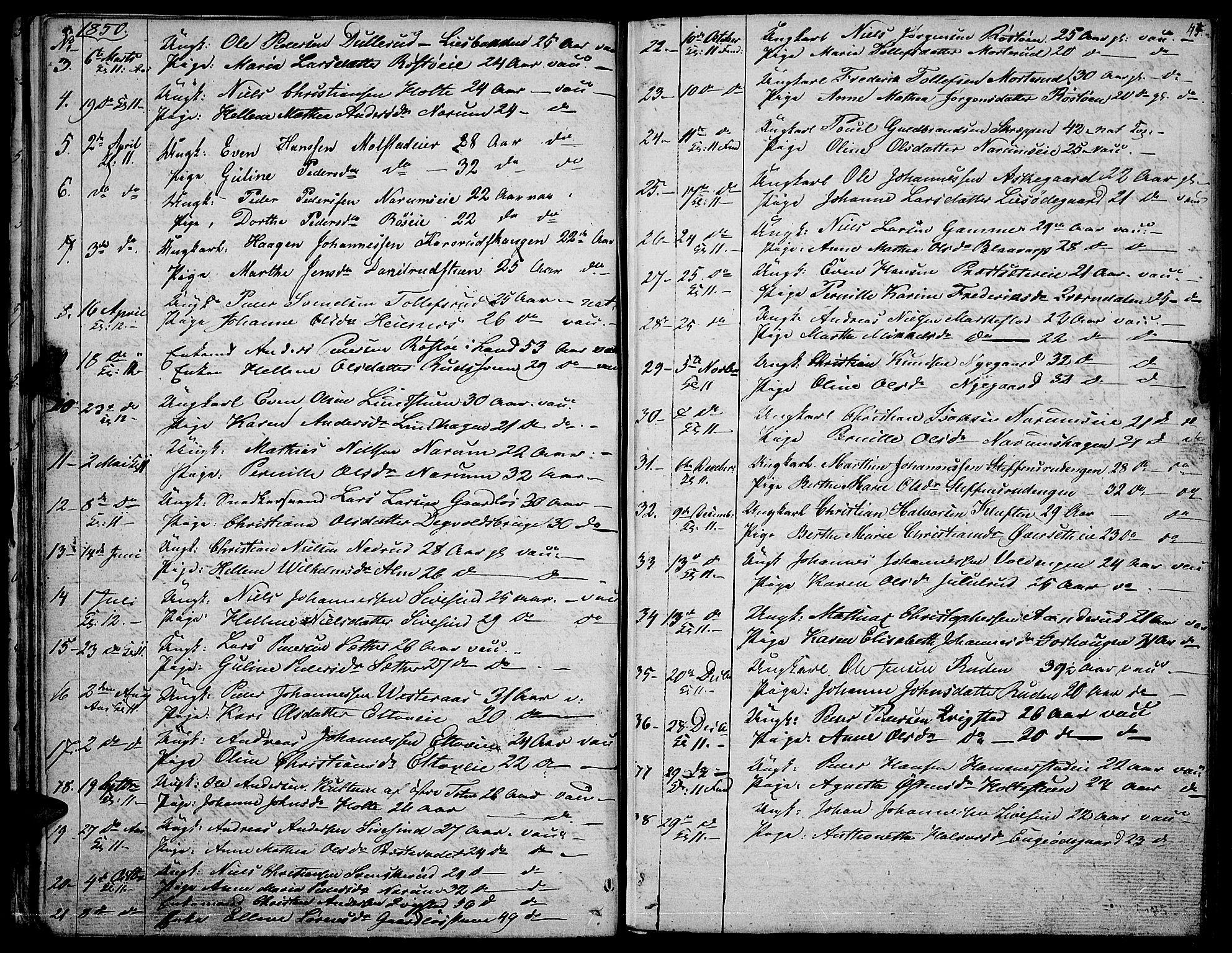 SAH, Vestre Toten prestekontor, H/Ha/Hab/L0003: Klokkerbok nr. 3, 1846-1854, s. 45
