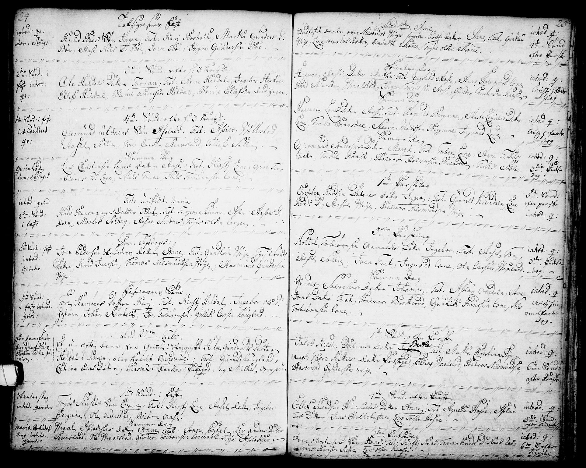 SAKO, Drangedal kirkebøker, F/Fa/L0001: Ministerialbok nr. 1, 1697-1767, s. 24-25