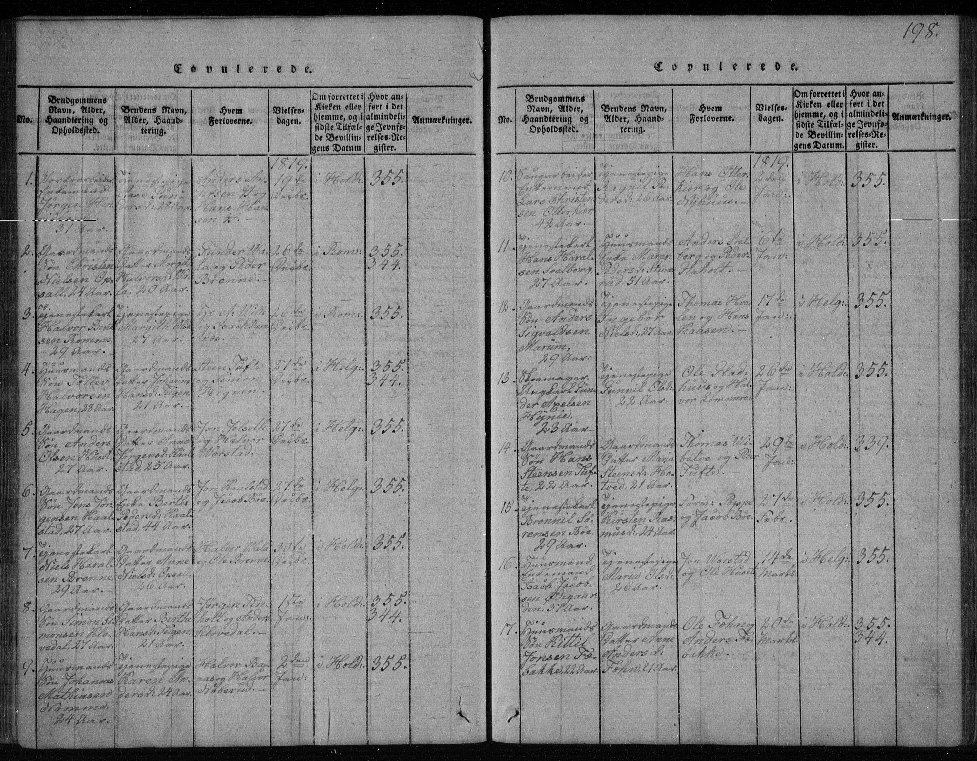 SAKO, Holla kirkebøker, F/Fa/L0003: Ministerialbok nr. 3, 1815-1830, s. 198