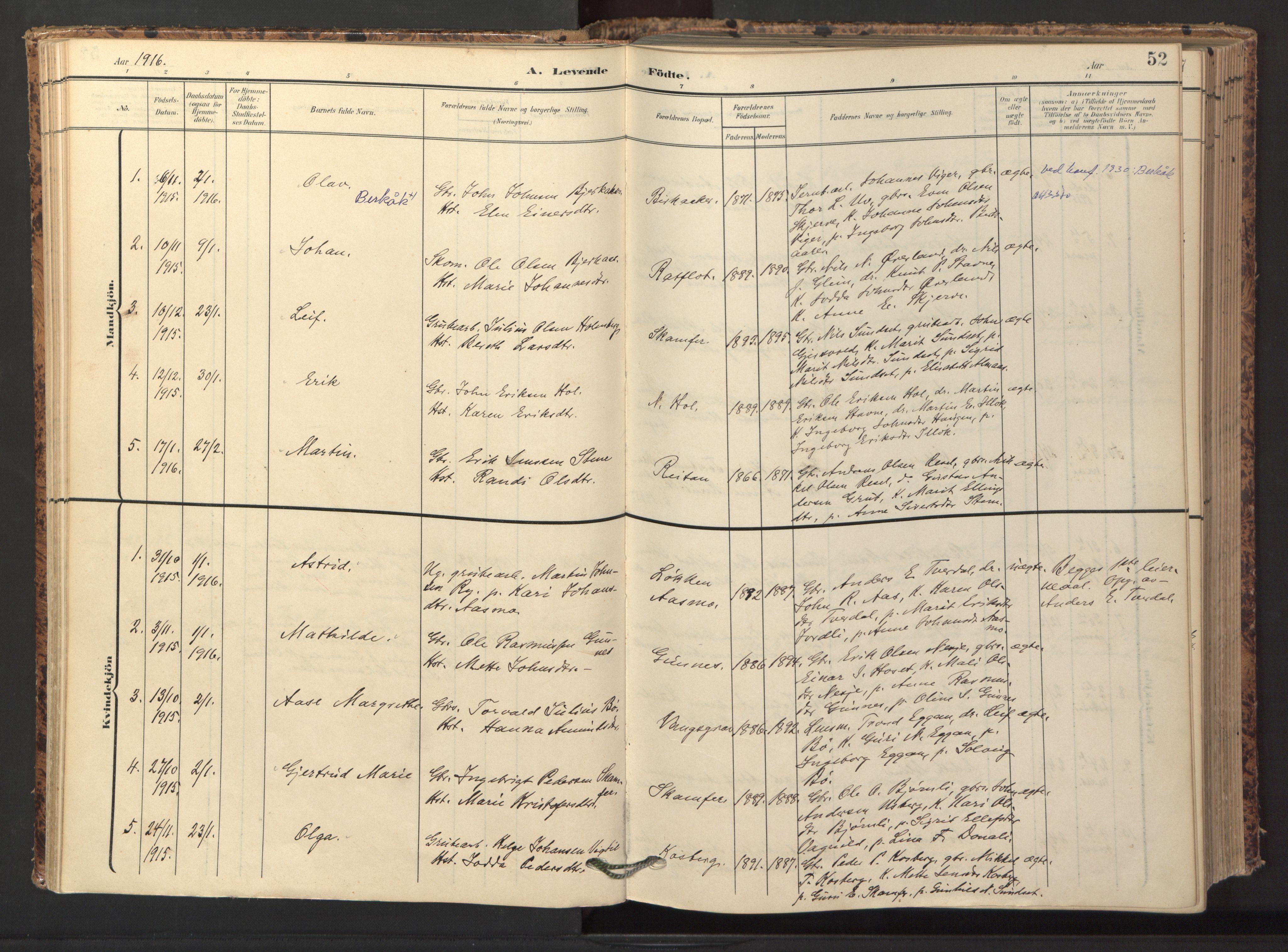 SAT, Ministerialprotokoller, klokkerbøker og fødselsregistre - Sør-Trøndelag, 674/L0873: Ministerialbok nr. 674A05, 1908-1923, s. 52