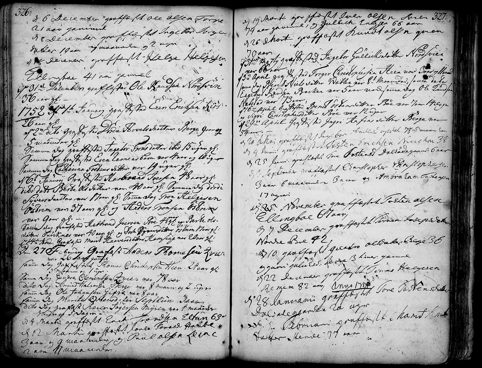 SAH, Vang prestekontor, Valdres, Ministerialbok nr. 1, 1730-1796, s. 326-327