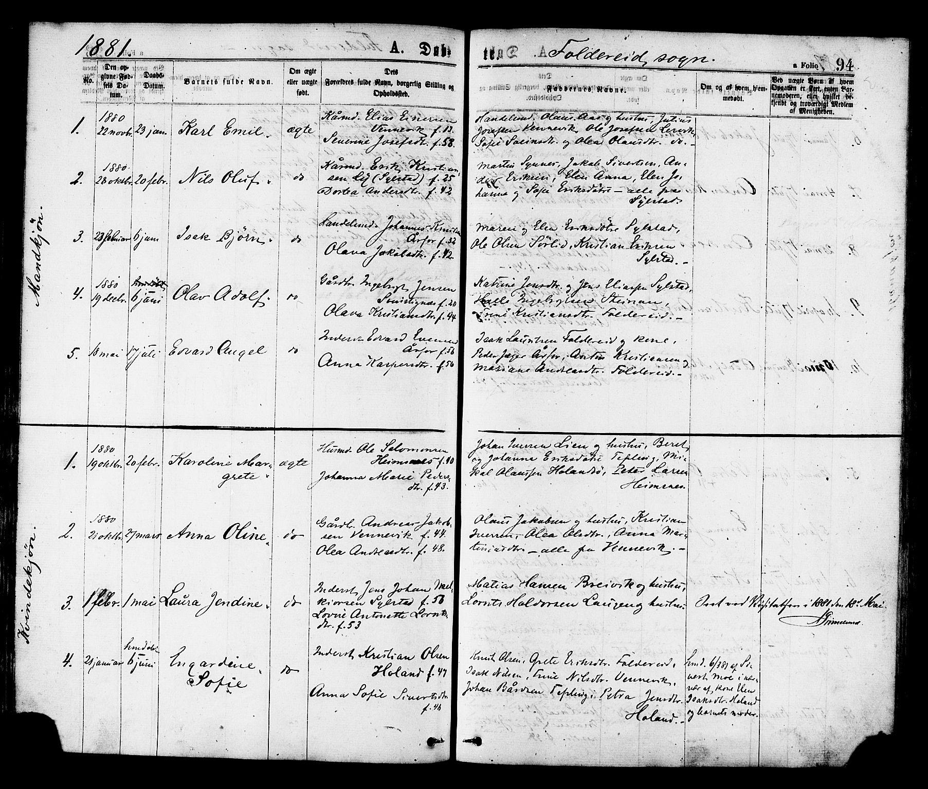 SAT, Ministerialprotokoller, klokkerbøker og fødselsregistre - Nord-Trøndelag, 780/L0642: Ministerialbok nr. 780A07 /2, 1878-1885, s. 94