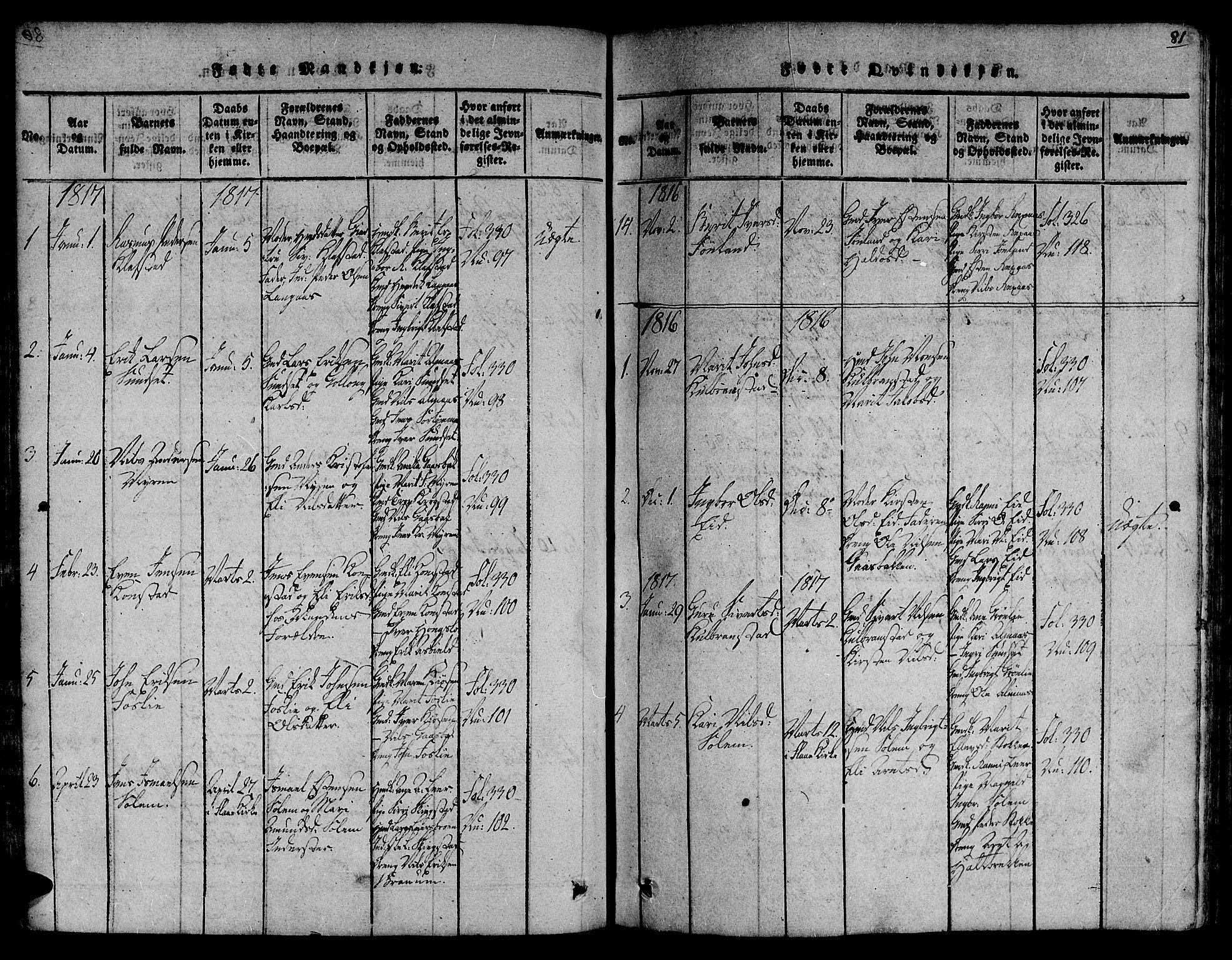 SAT, Ministerialprotokoller, klokkerbøker og fødselsregistre - Sør-Trøndelag, 691/L1068: Ministerialbok nr. 691A03 /4, 1816-1826, s. 81