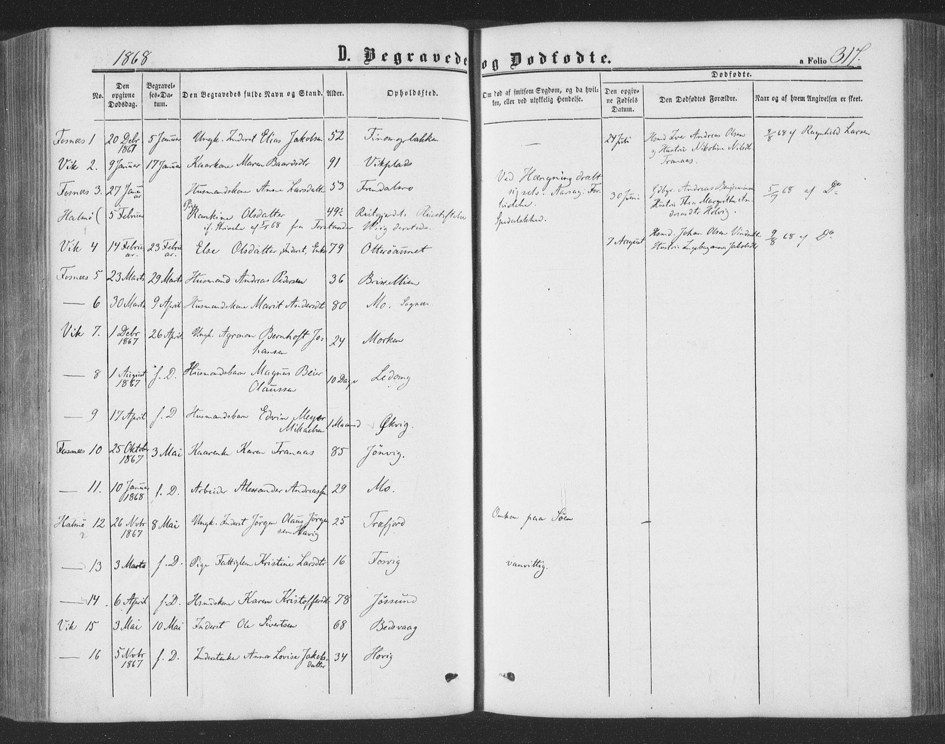 SAT, Ministerialprotokoller, klokkerbøker og fødselsregistre - Nord-Trøndelag, 773/L0615: Ministerialbok nr. 773A06, 1857-1870, s. 317