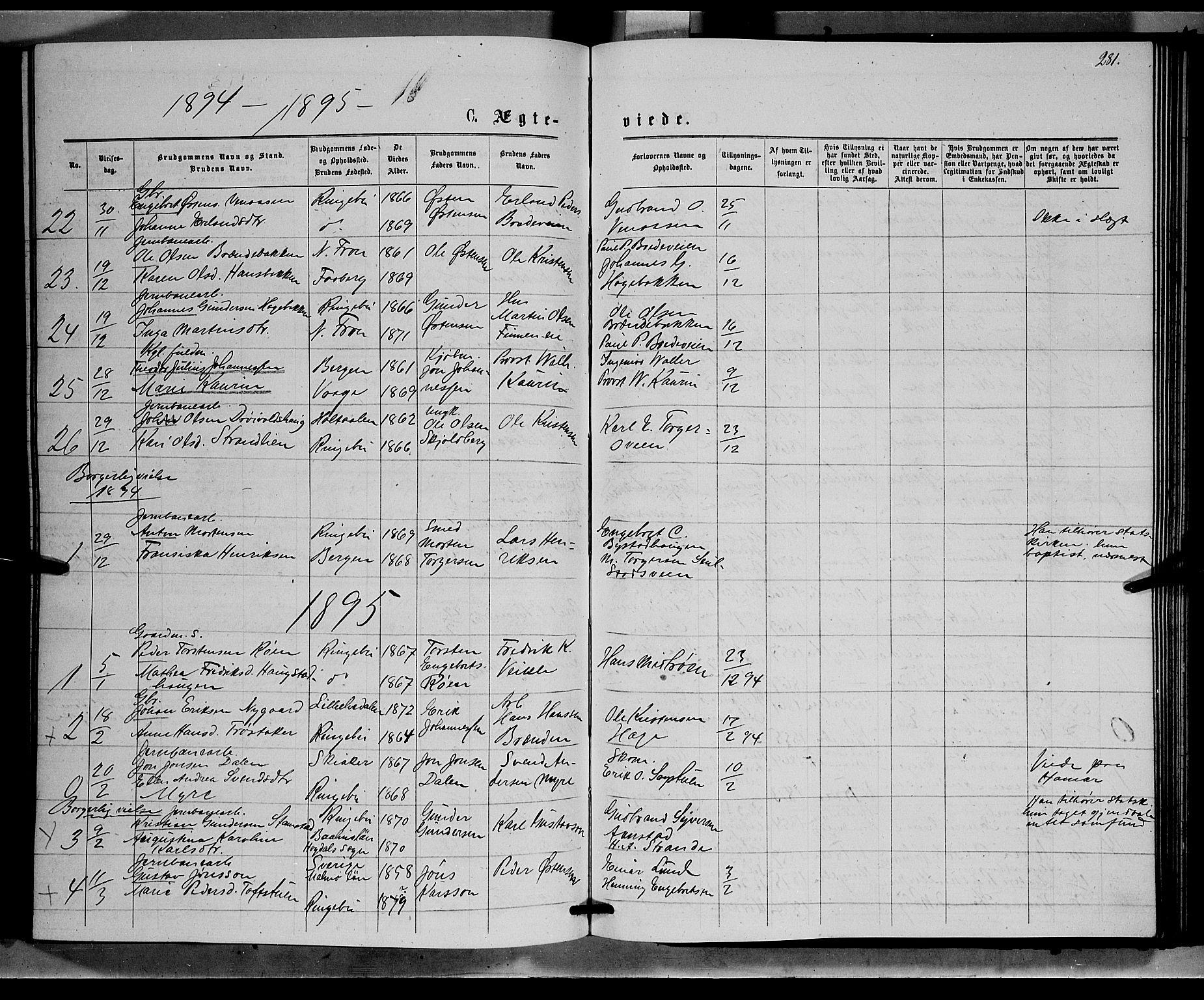 SAH, Ringebu prestekontor, Klokkerbok nr. 6, 1880-1898, s. 281