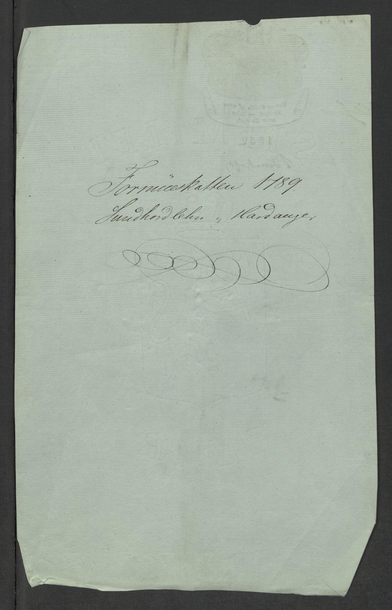 RA, Rentekammeret inntil 1814, Reviderte regnskaper, Mindre regnskaper, Rf/Rfe/L0049: Sunnhordland og Hardanger fogderi, Sunnmøre fogderi, 1789, s. 3